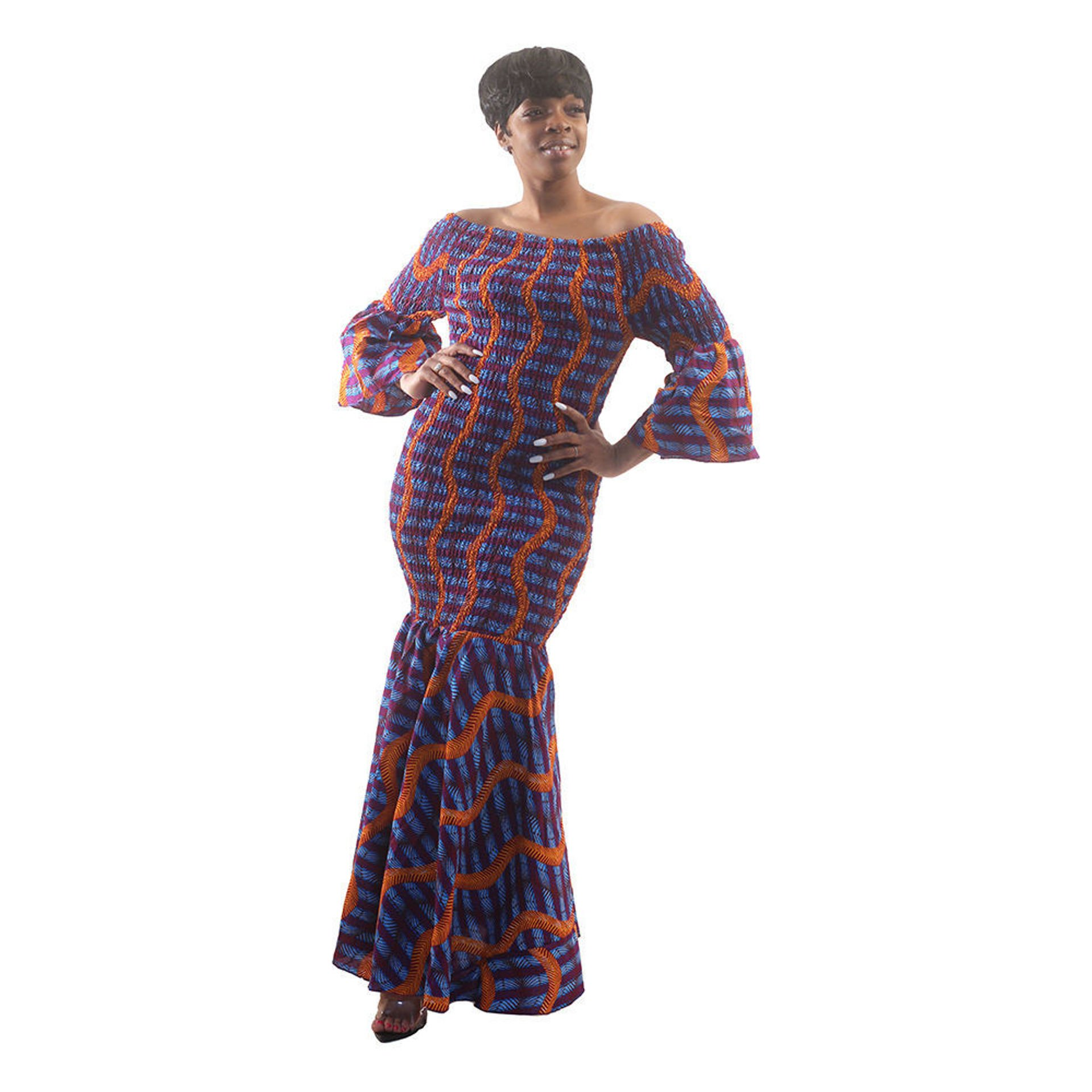 Picture of Interwoven Print Off-Shoulder Dress