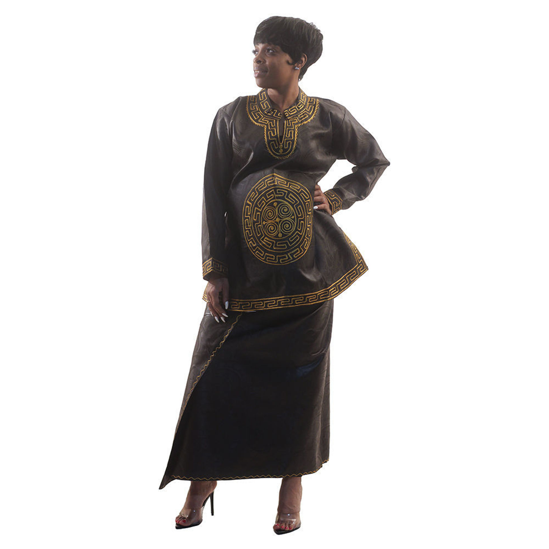 Picture of Black Brocade Wrap Skirt Set & Head Wrap