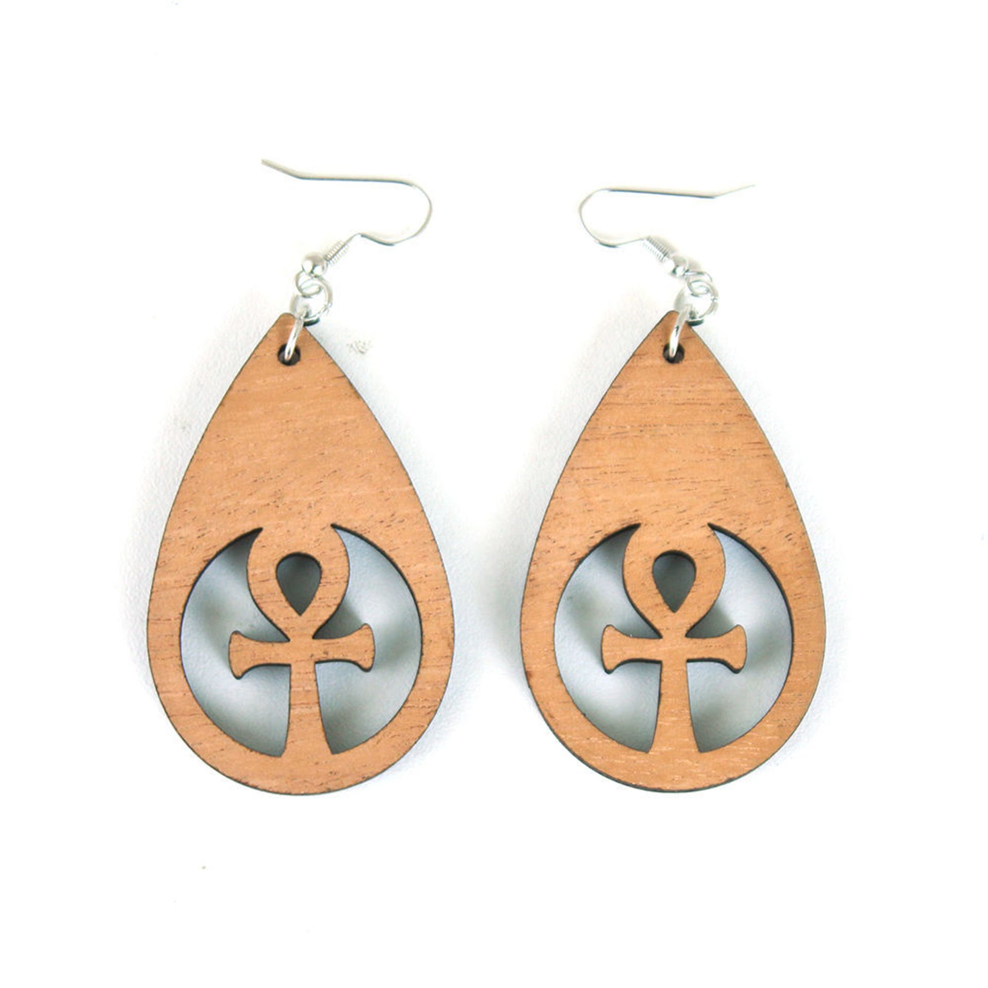 Picture of Wooden Tear Drop Earrings - Ankh