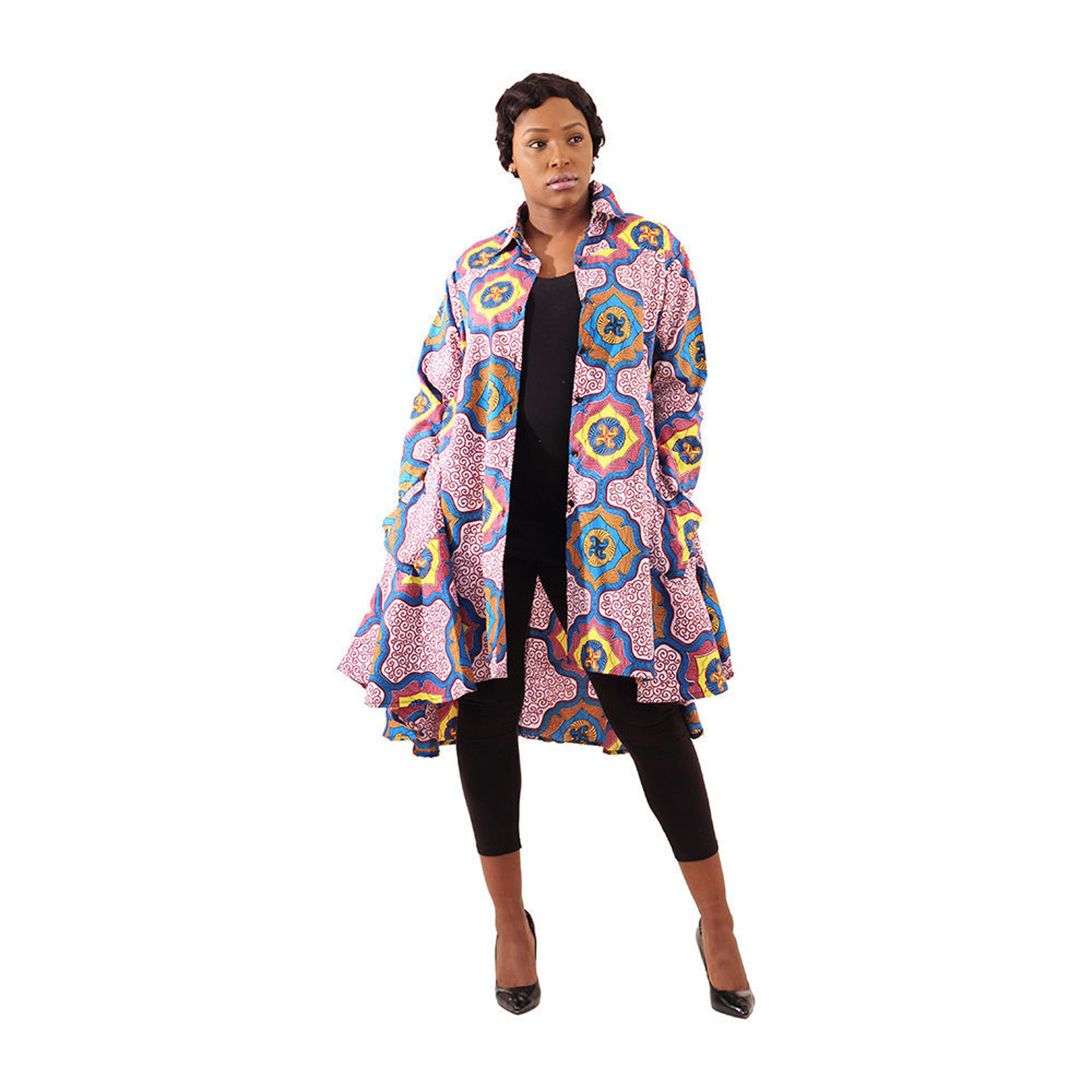 Picture of Flared Hi-Lo Smock: Royalty Print