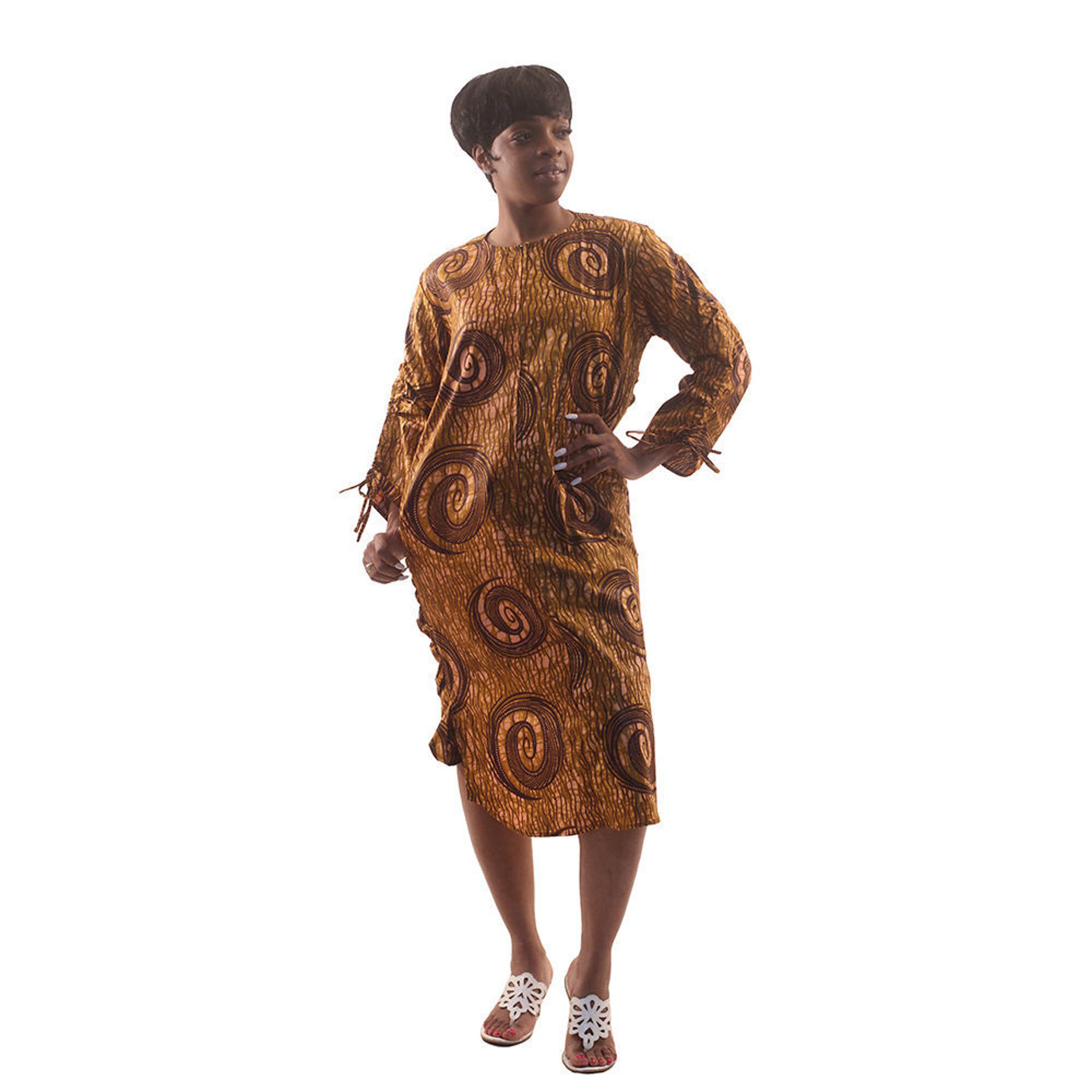 Picture of Brown African Print Zipper Dress