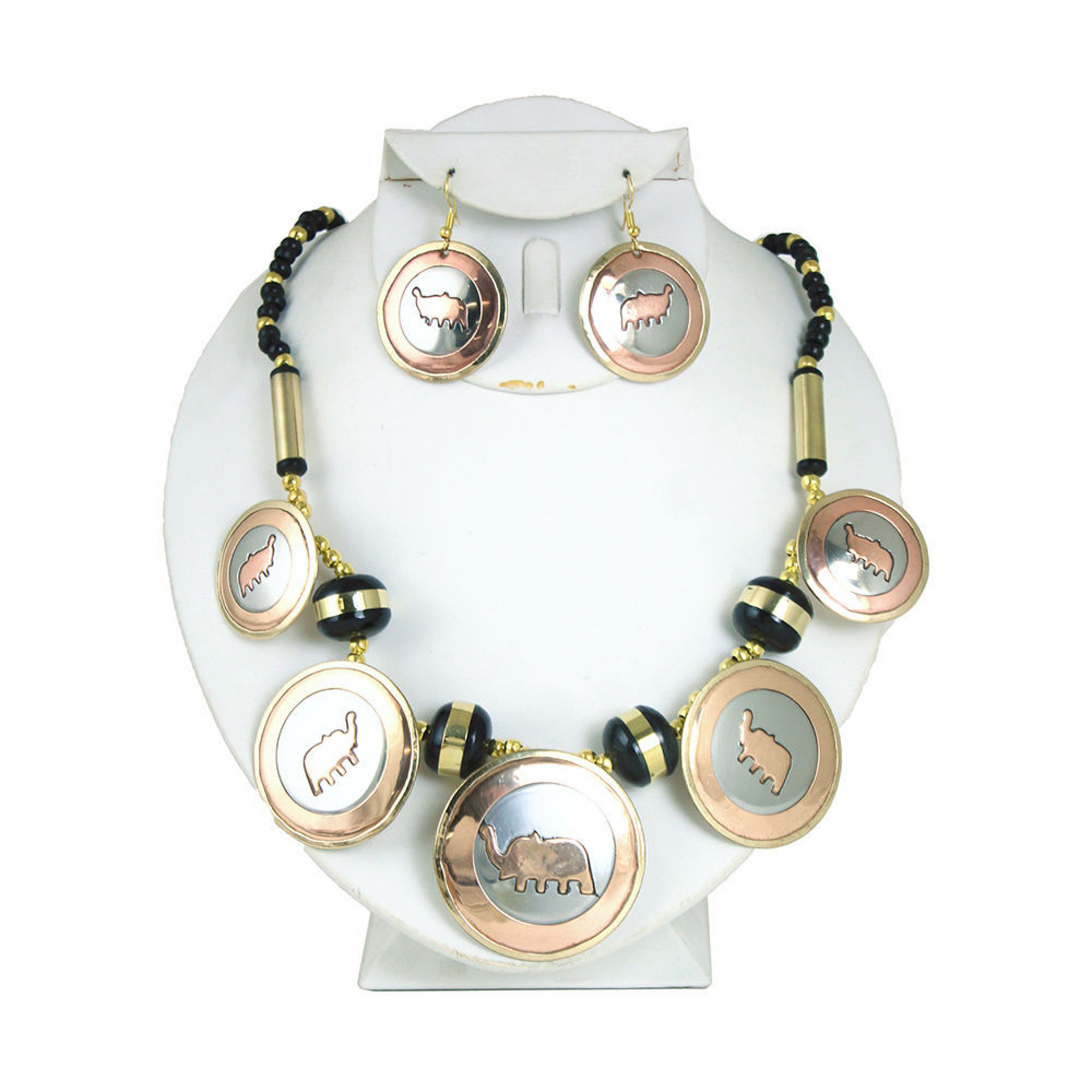 Picture of Inlayed Brass/Copper Necklace & Earrings