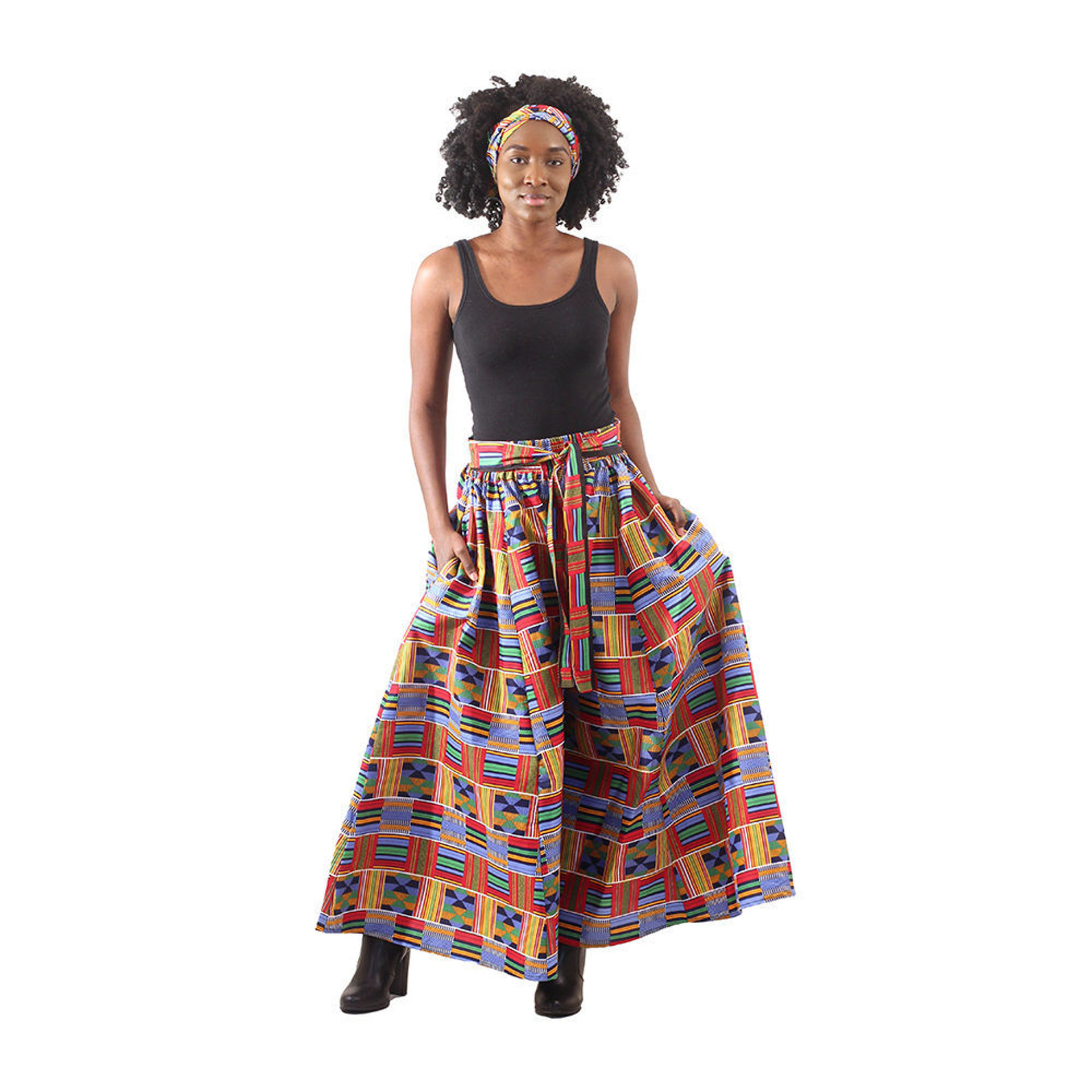 Picture of Red/Blue Kente Palazzo Pants