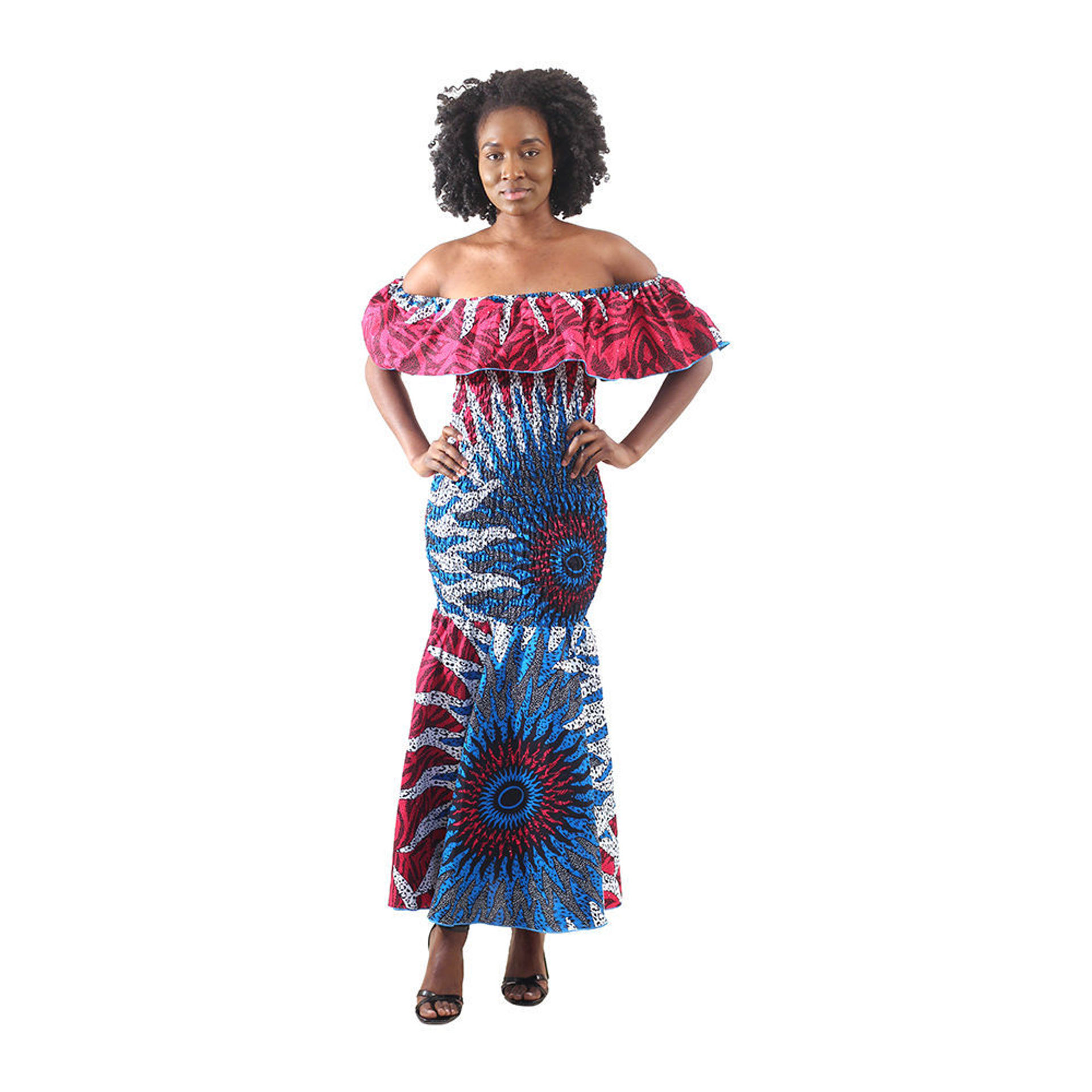 Picture of African-Made Blue/Pink Sun Elastic Dress