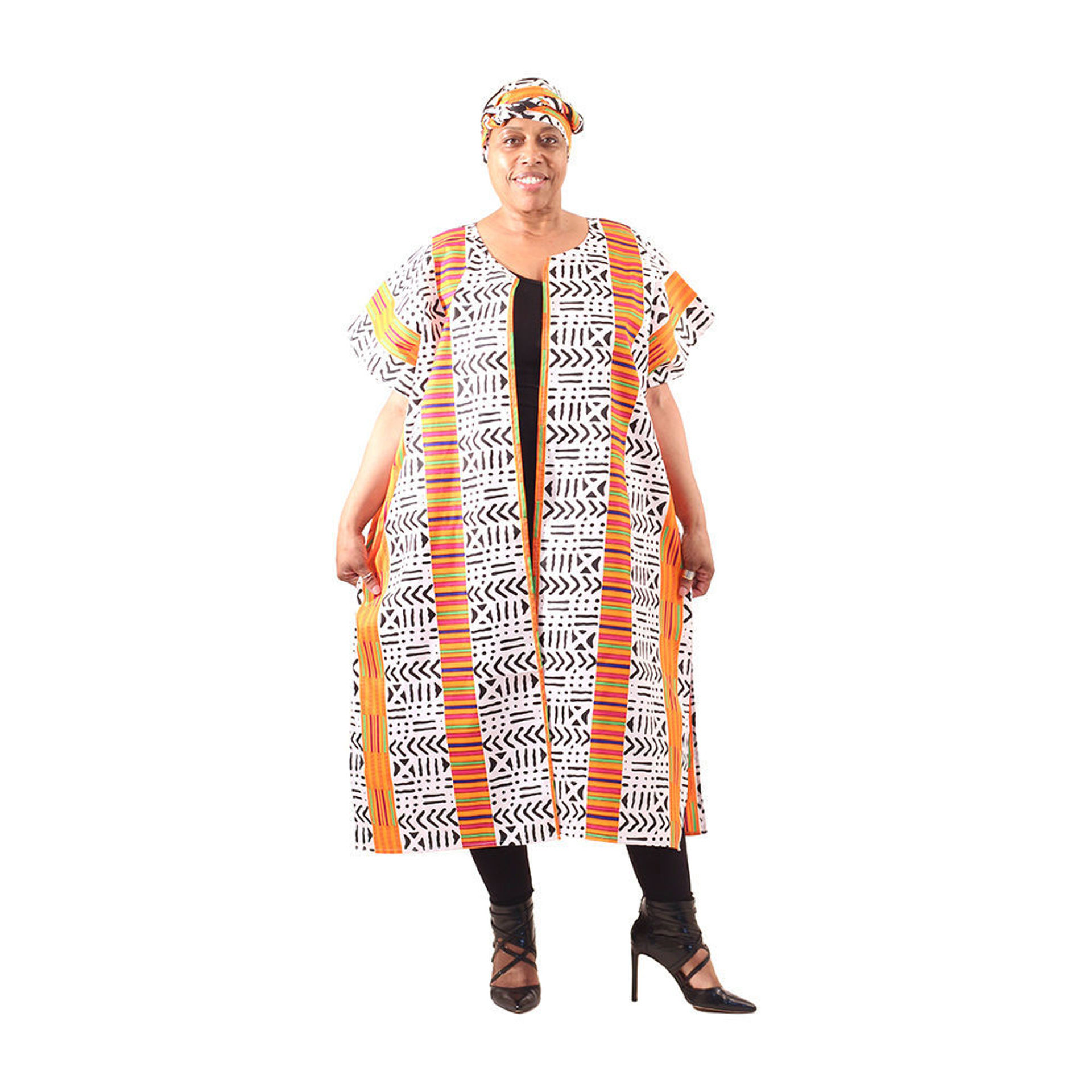 Picture of Kente Mud Print Open Kaftan