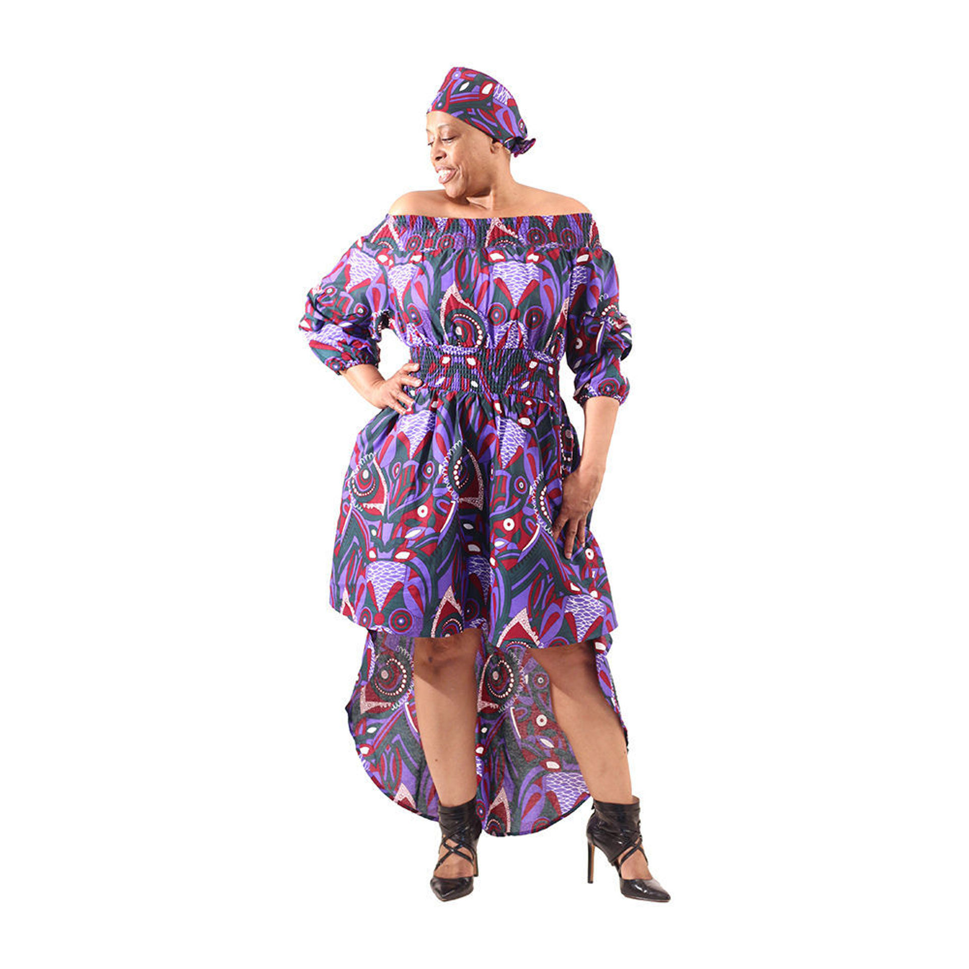 Picture of Hi-Lo Smocked Dress: Purple African Prt