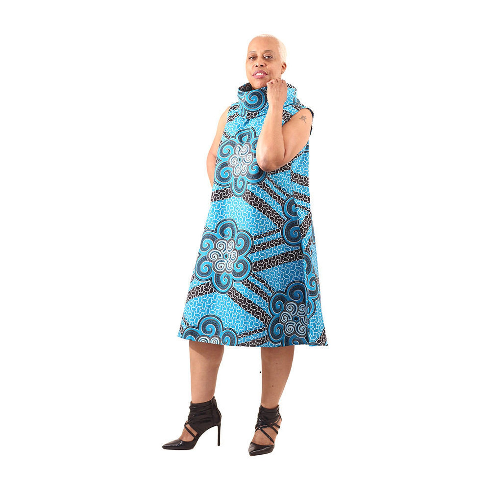 Picture of Blue/Black Adinkra Print Collar Dress