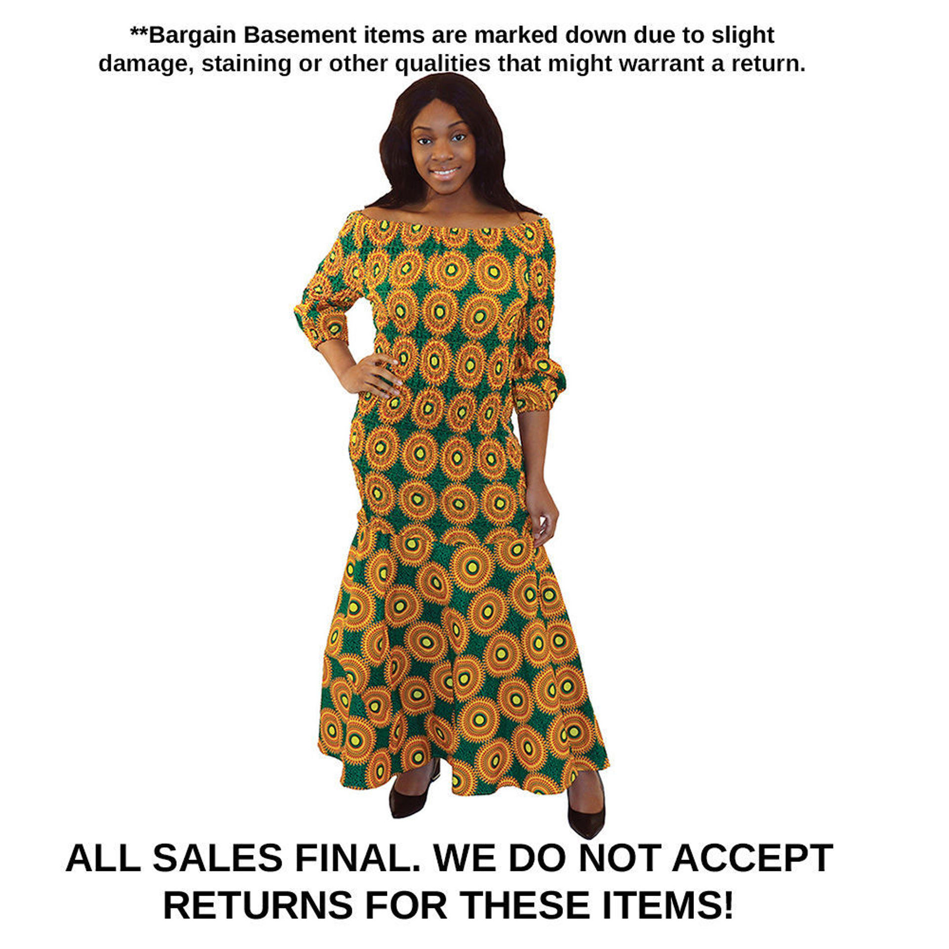 Picture of DAMAGED Yellow/Green Circle Print Dress