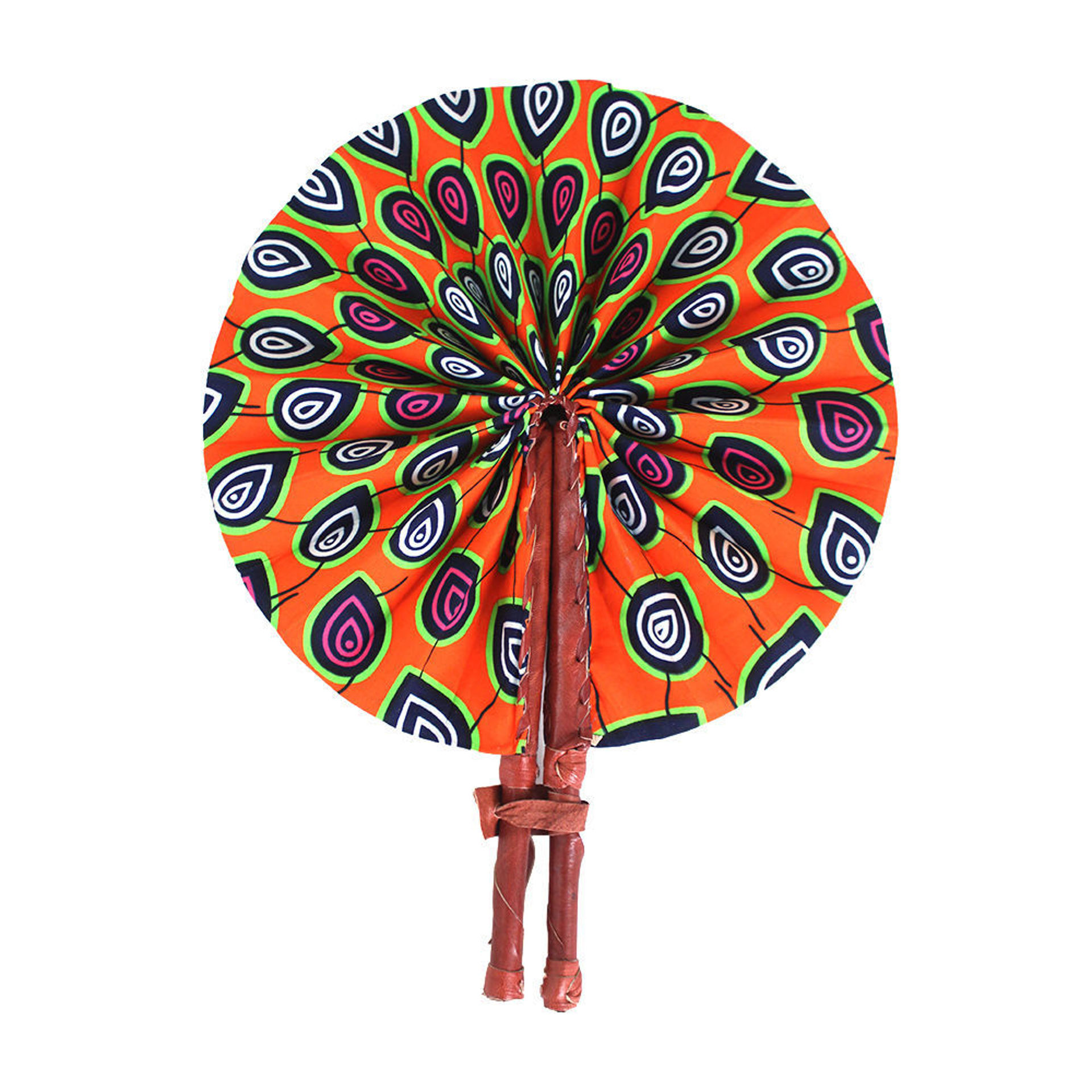 Picture of Orange Peacock Print Folding Fan