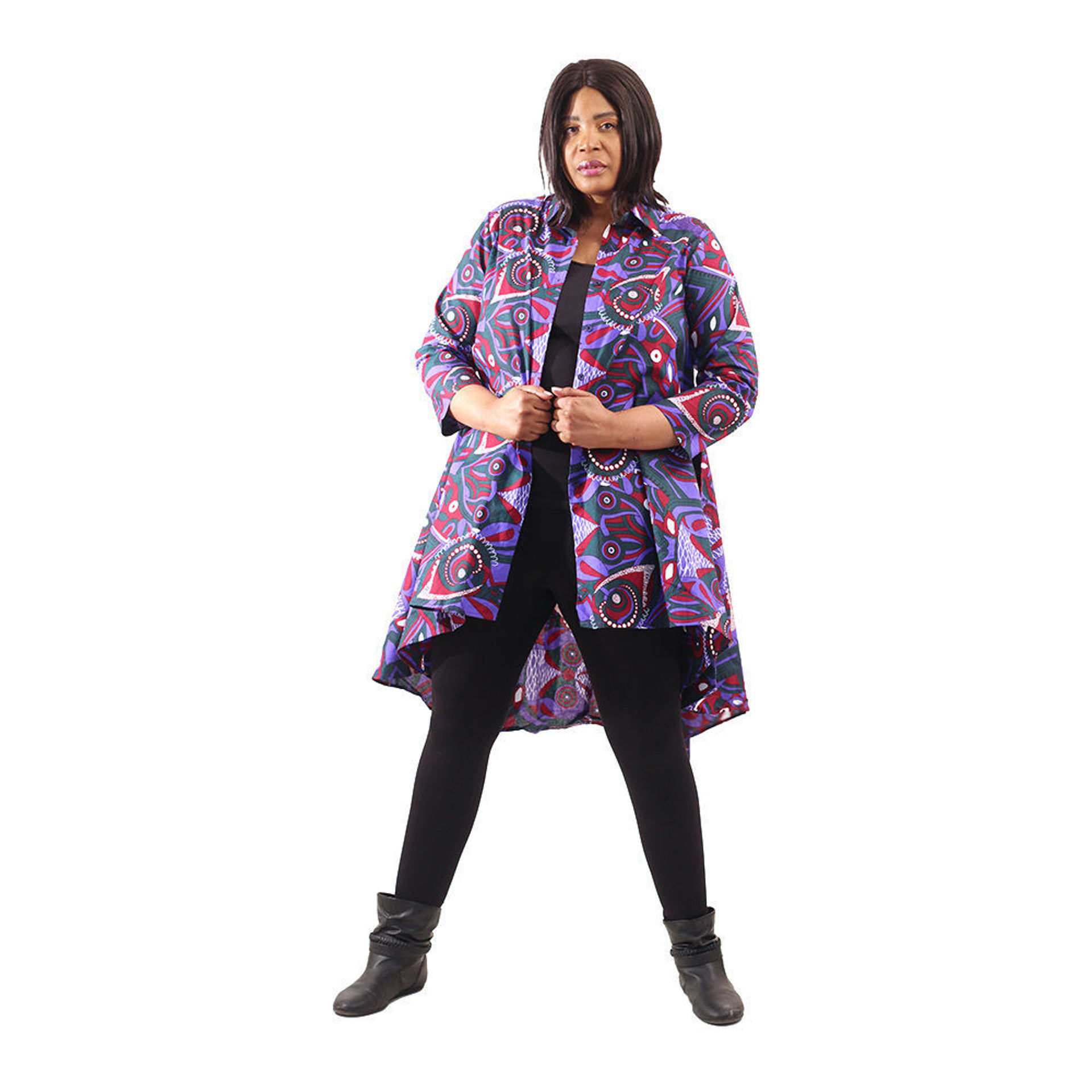 Picture of African Print Hi-Lo Shirt: Purple