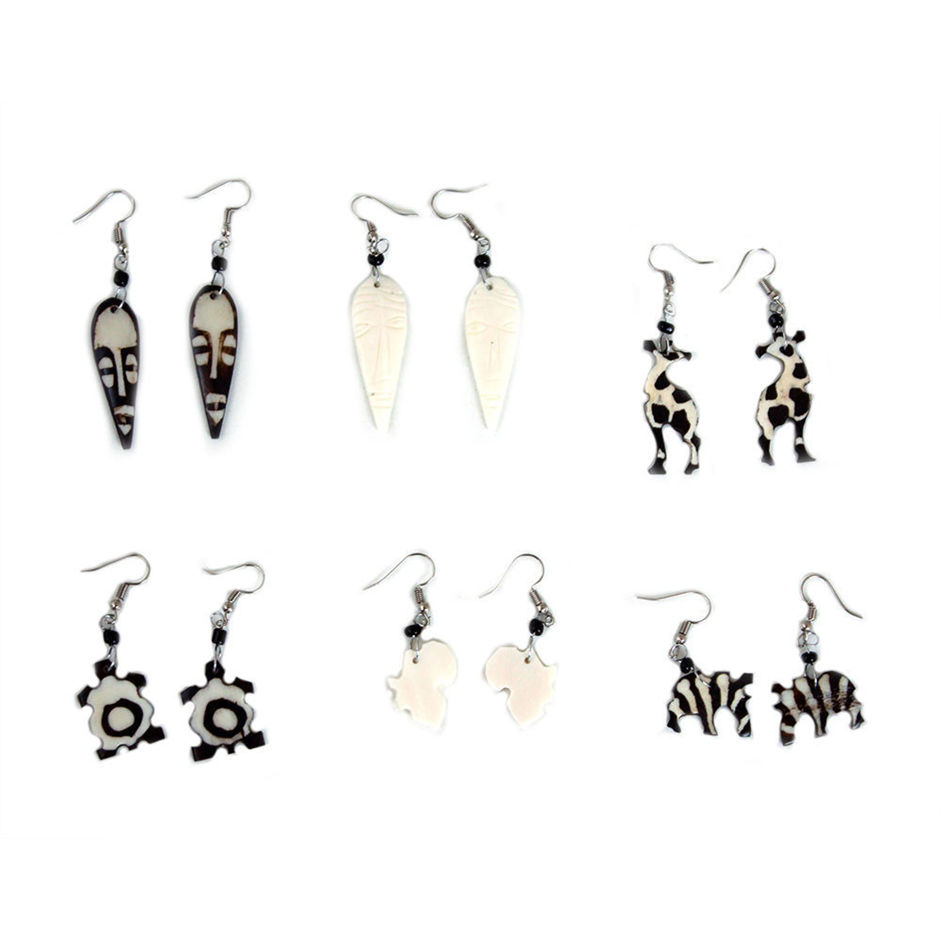 Picture of Set Of 6 Kenyan Bone Earrings