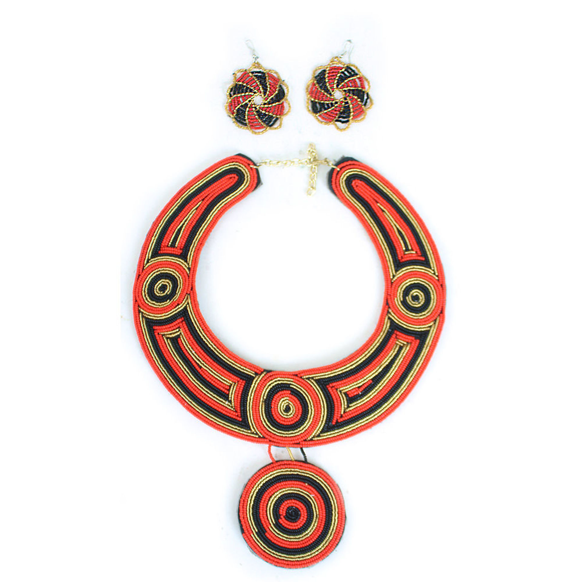 Picture of Kenyan Red/Black/Gold Queen Necklace Set