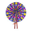 Picture of African Symbol Folding Fan - Blue/Pink