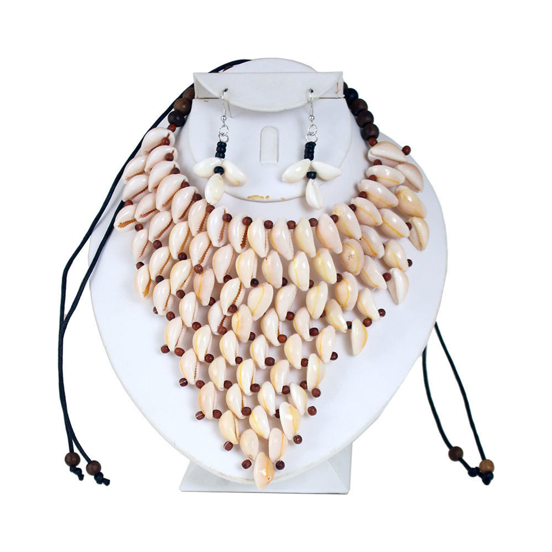 Picture of Cowrie Shell Necklace & Earrings Style-B
