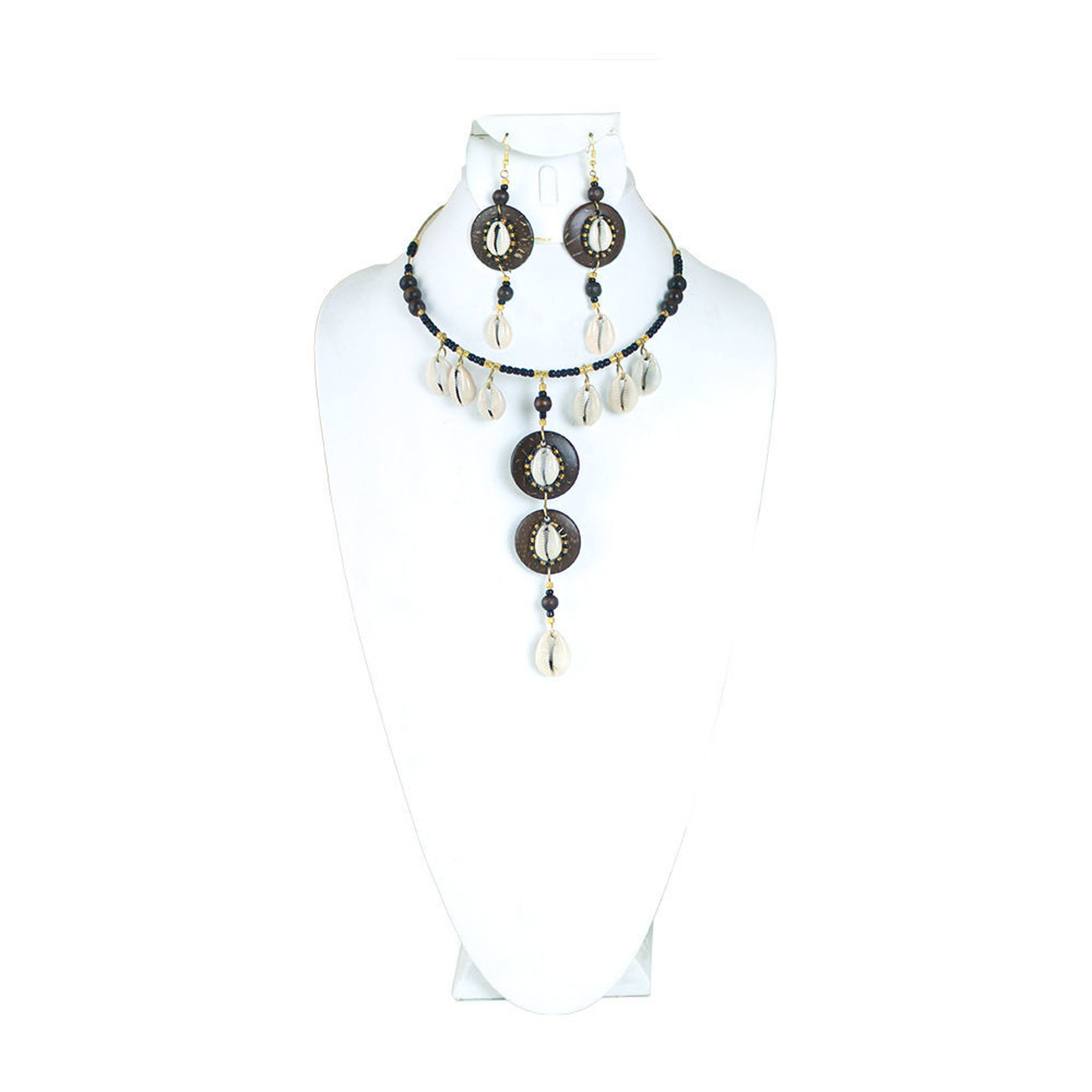 Picture of Bead & Brass Cowrie Shell Choker Set
