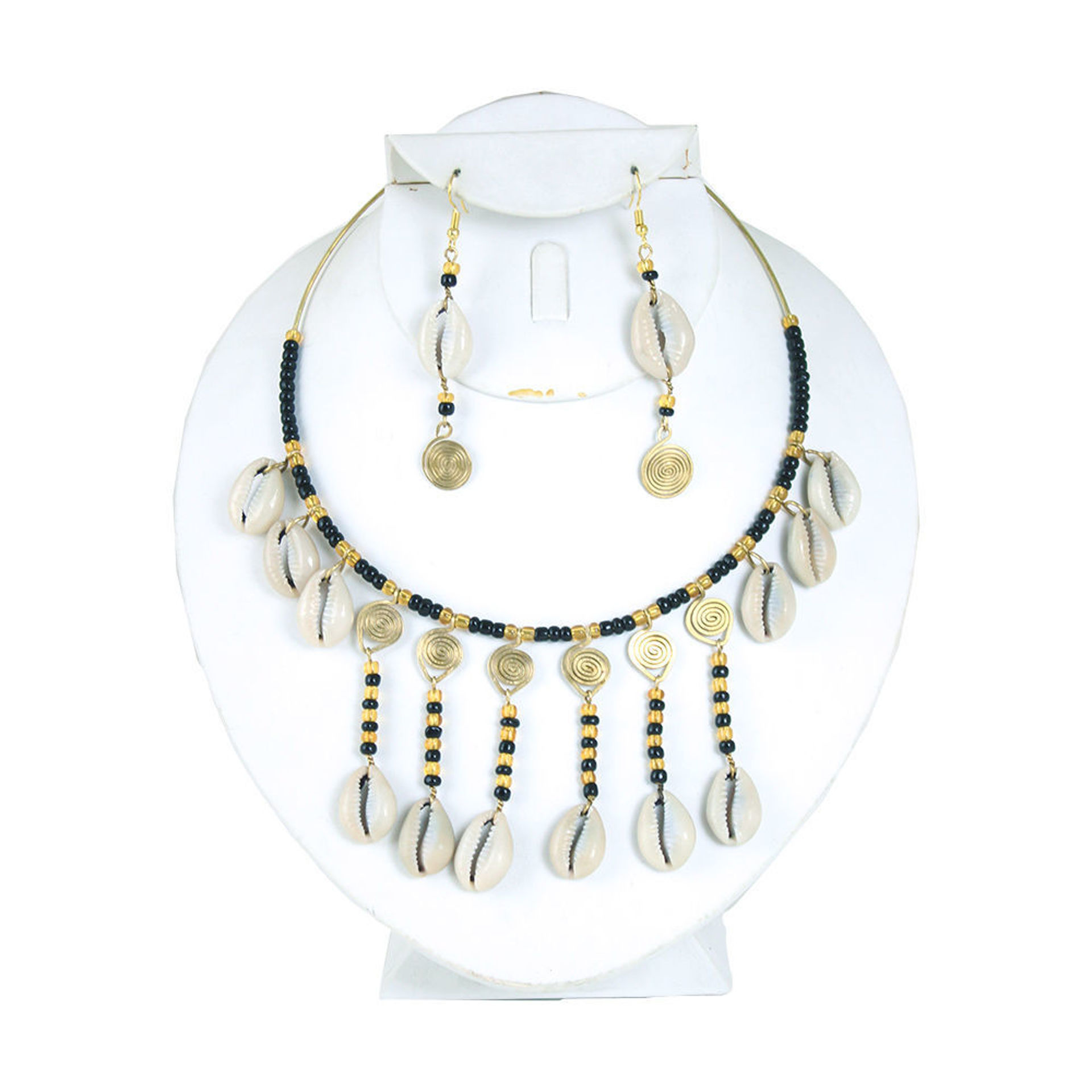 Picture of Cowrie Shell Bead & Brass Choker Set