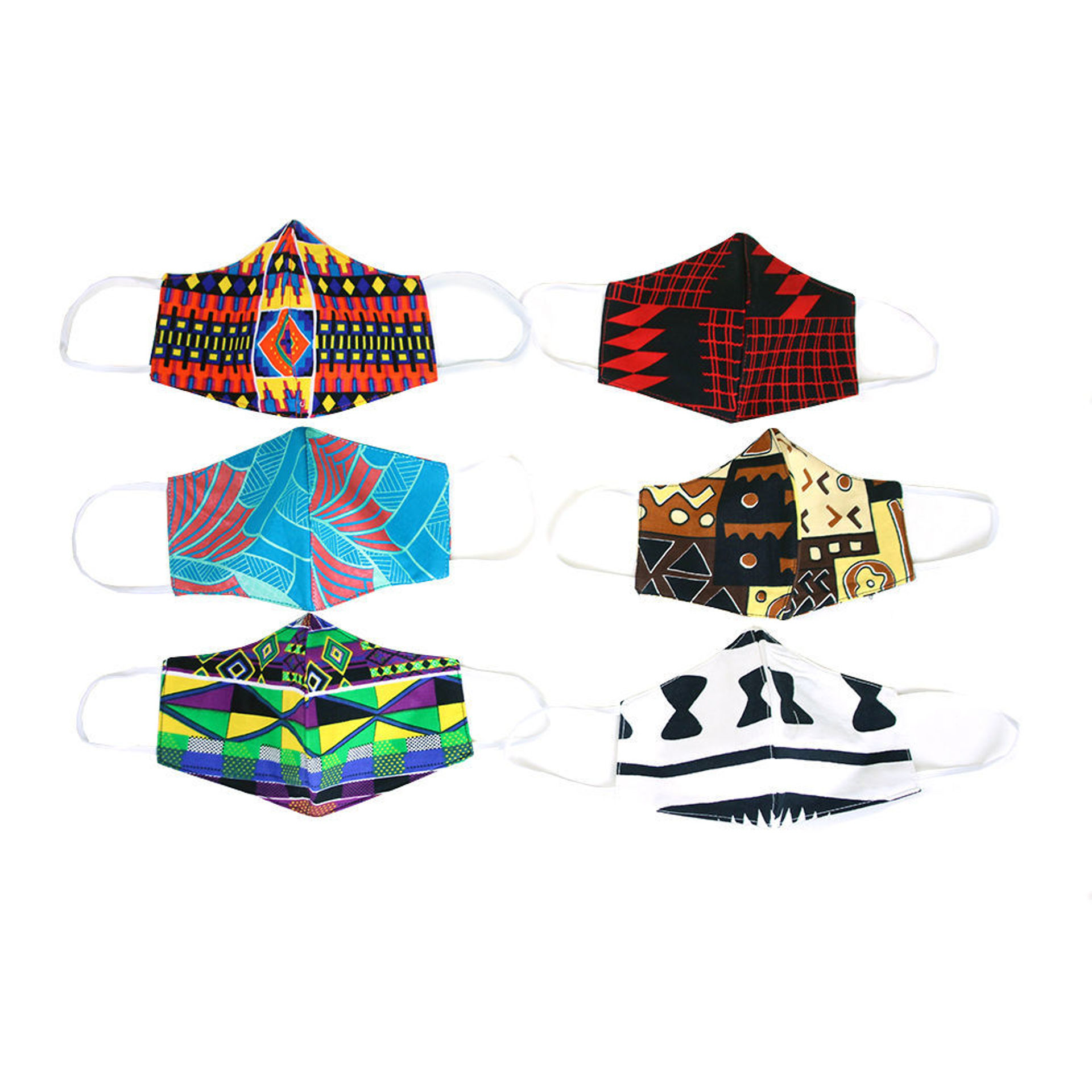 Picture of Set Of 6 African Print Masks - ASSORTED