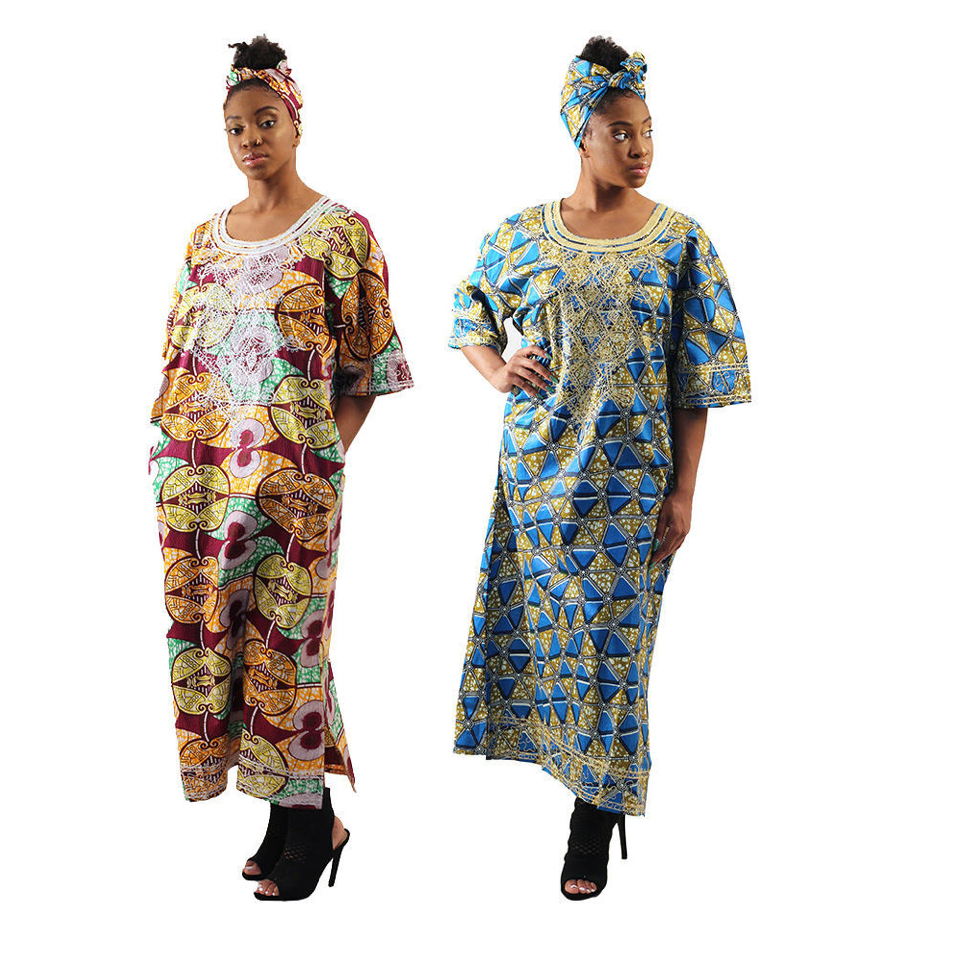 Picture of Embroidered African Print Long Dress