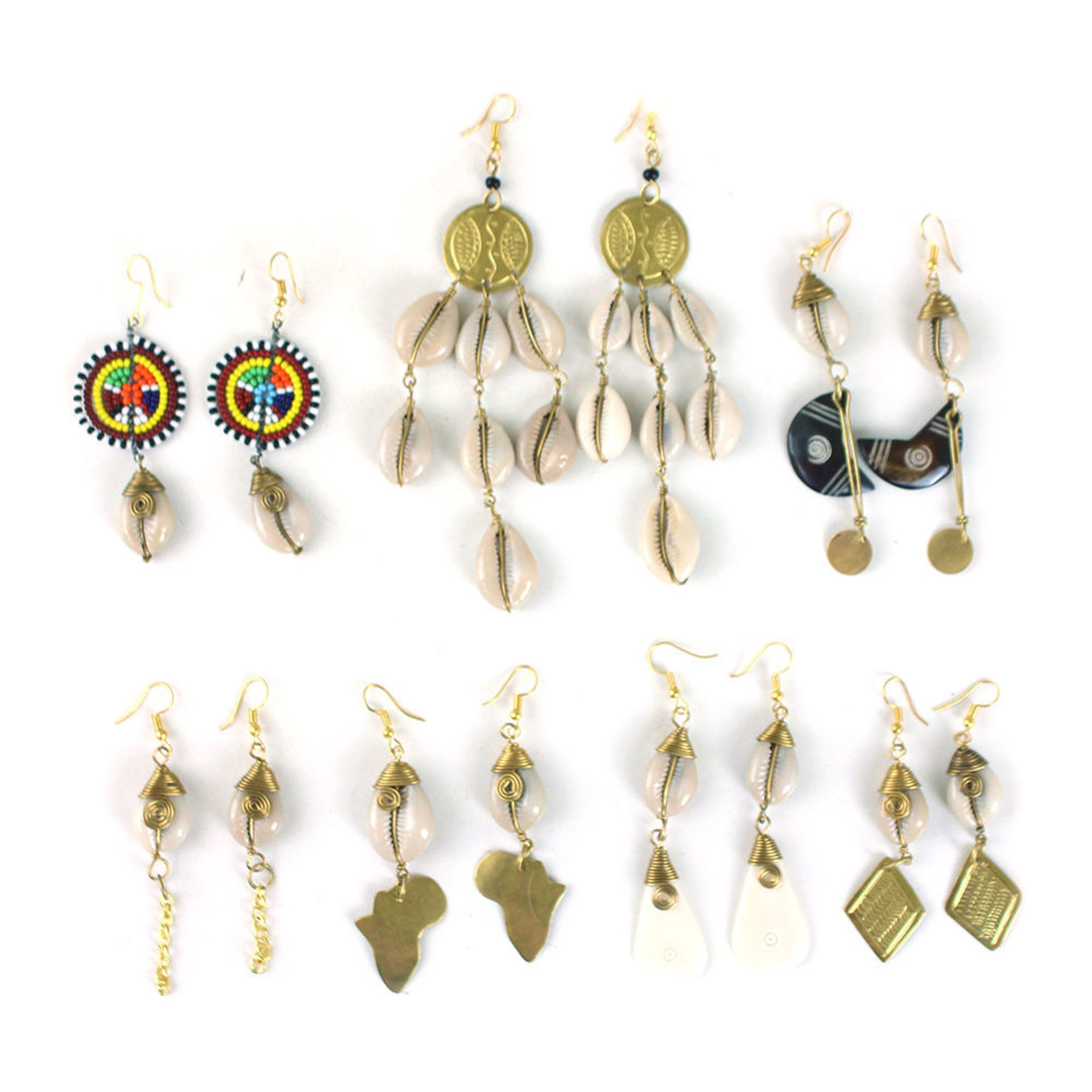 Picture of Set Of 7 Cowrie Shell Earrings