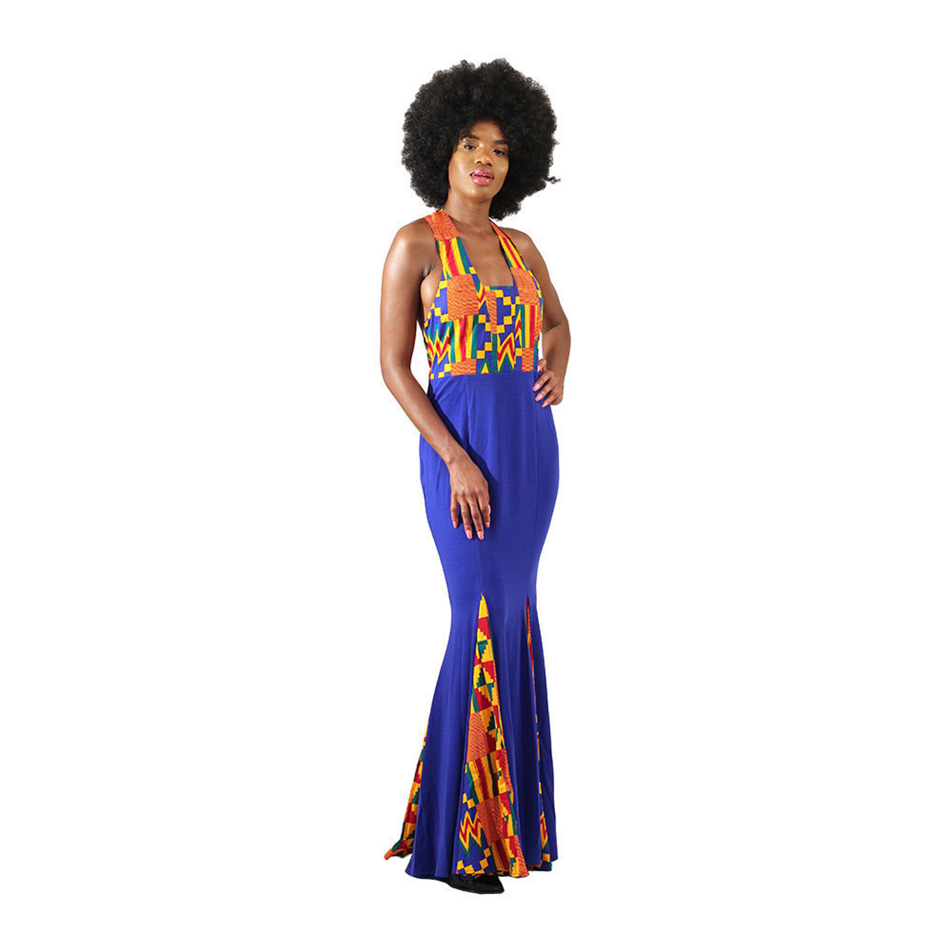 Picture of Blue Kente Long Party Dress