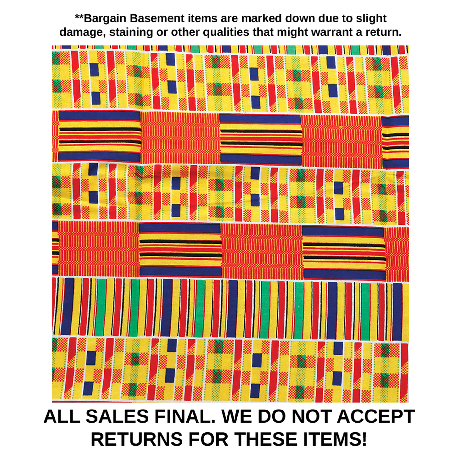 Picture of DAMAGED African Kente Fabric #1 - 6 Yds