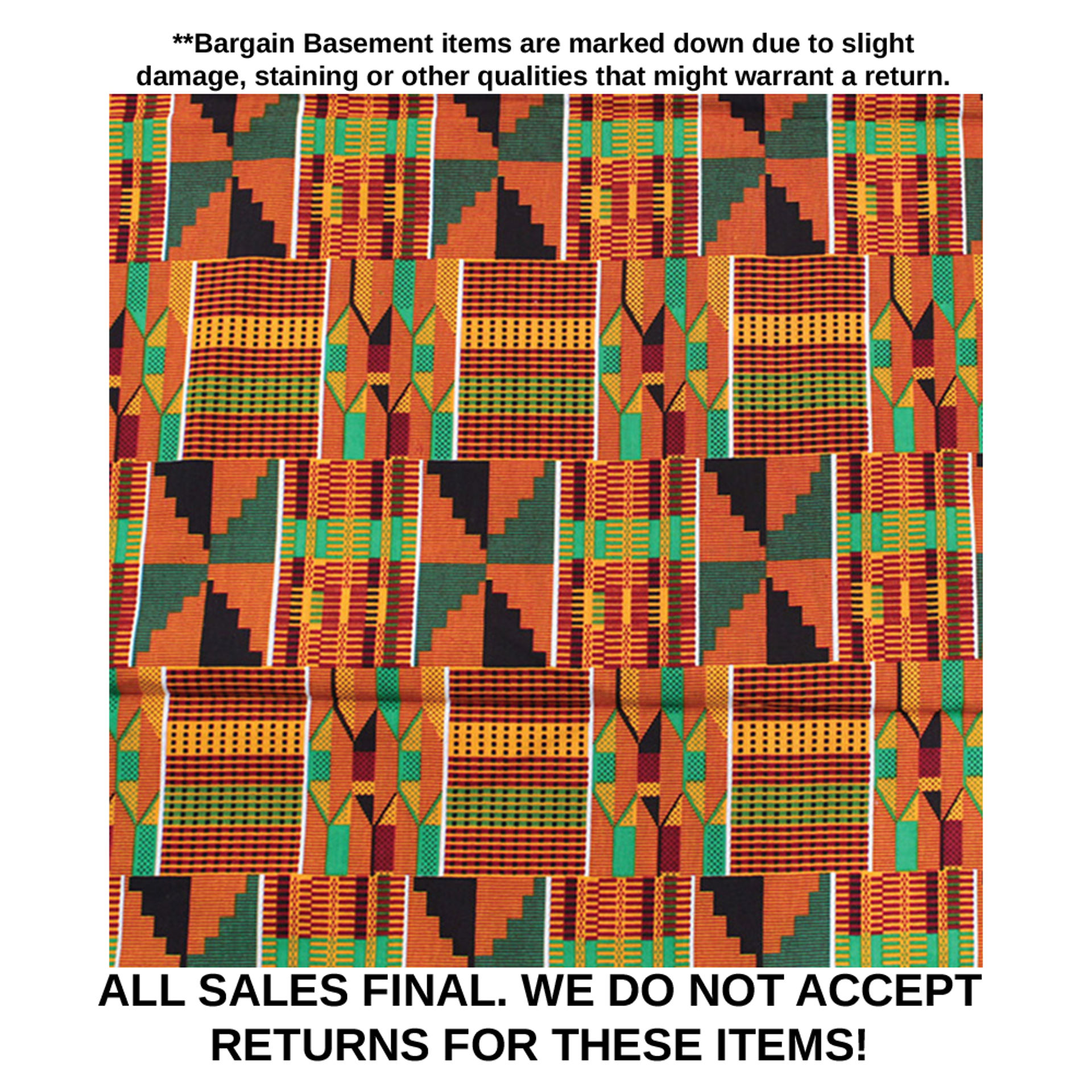 Picture of DAMAGED African Kente Fabric #2 - 6 Yds