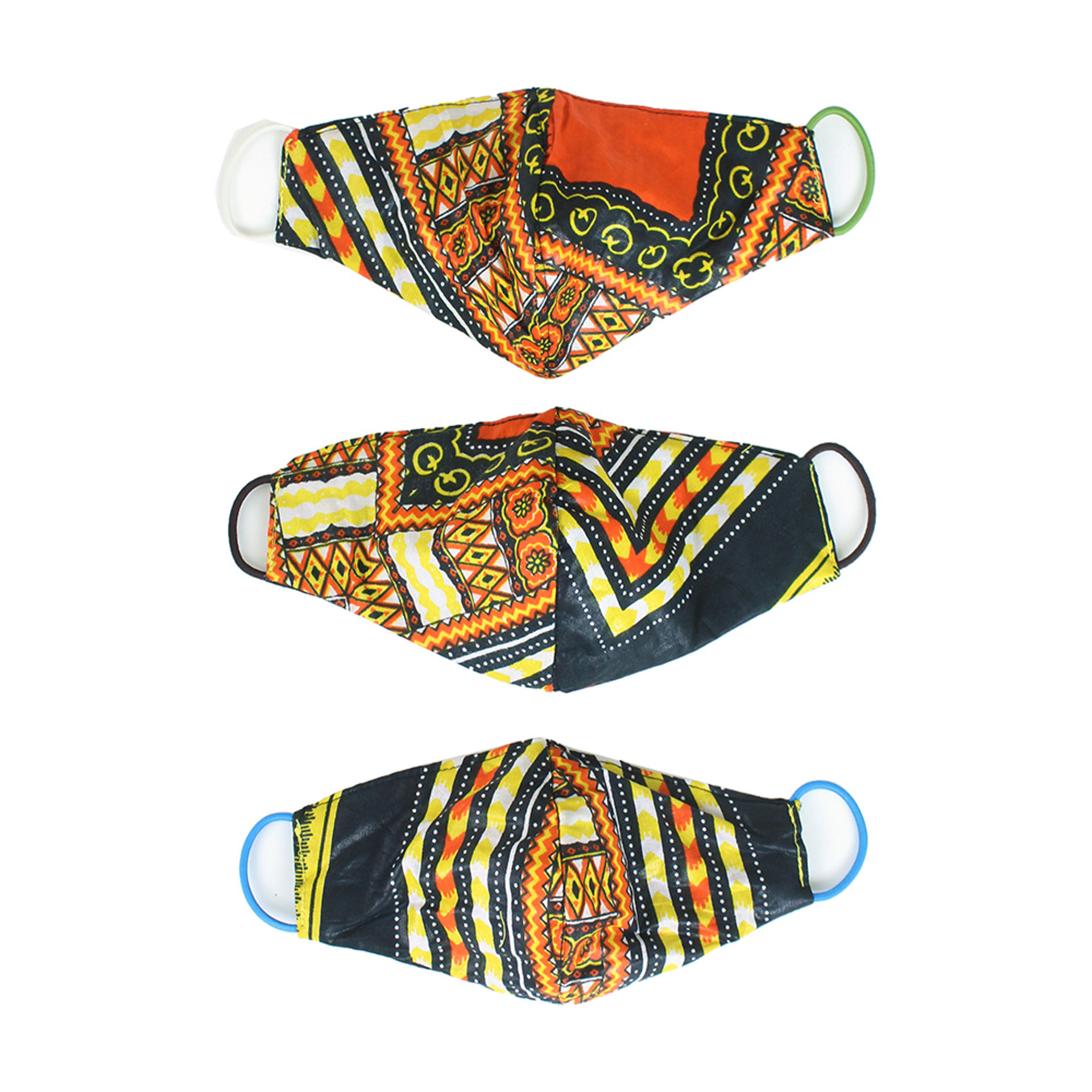 Picture of Set Of 3 Triple Layer Trad Print Masks