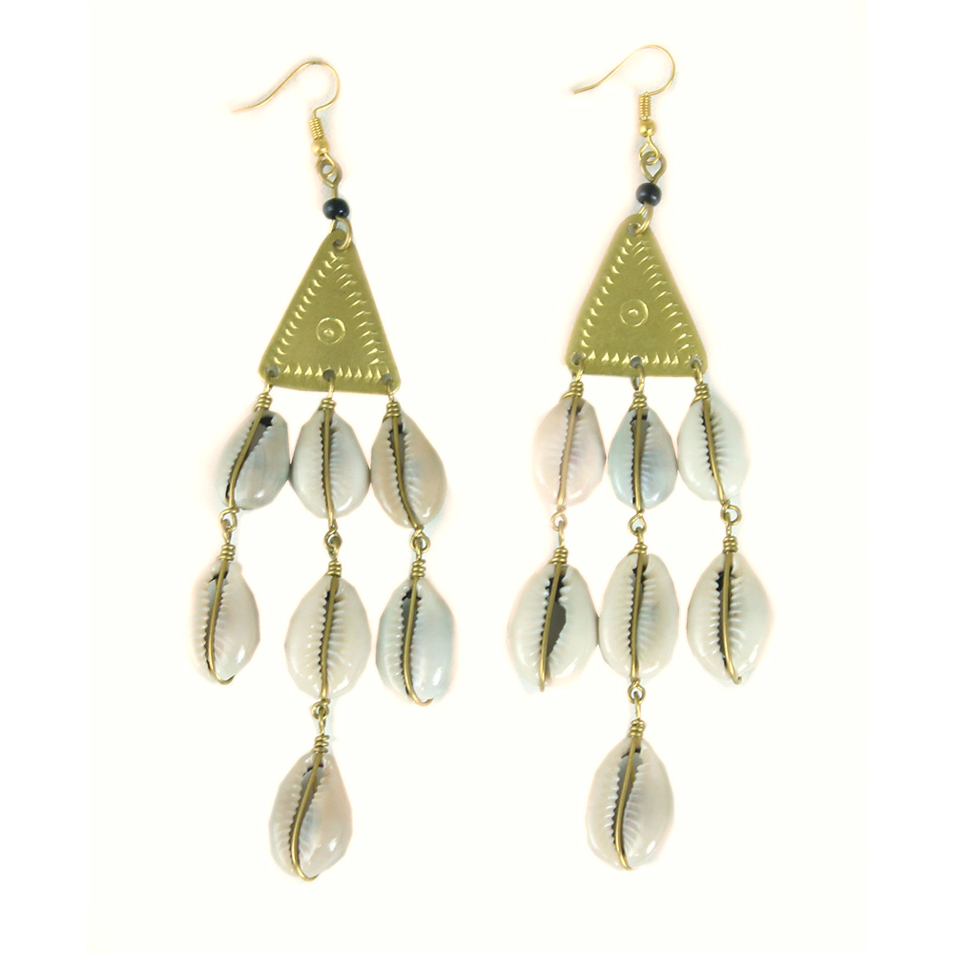 Picture of Triangle Brass/Cowrie Shell Drop Earring