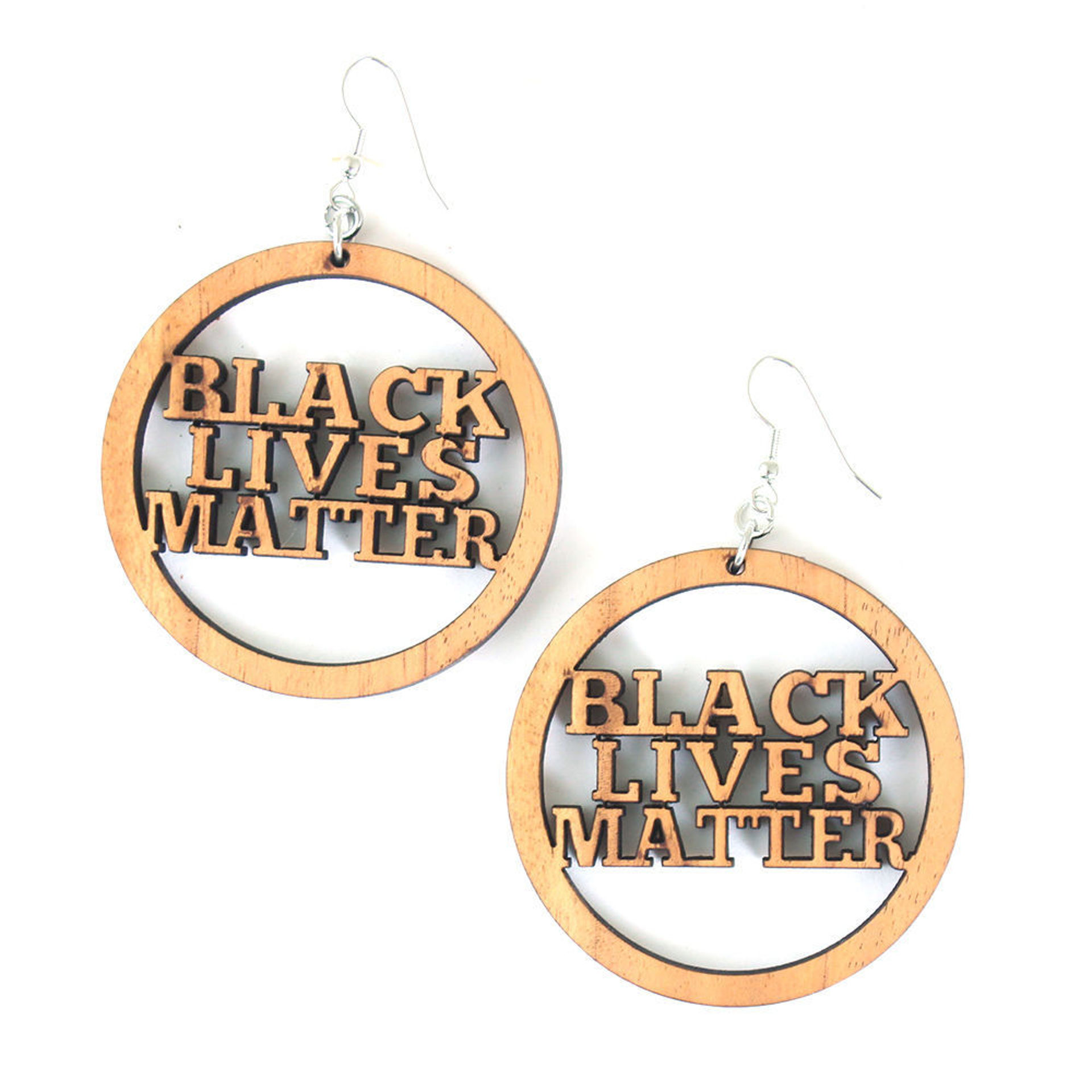 Picture of Wood Black Lives Matter Earrings Style-A