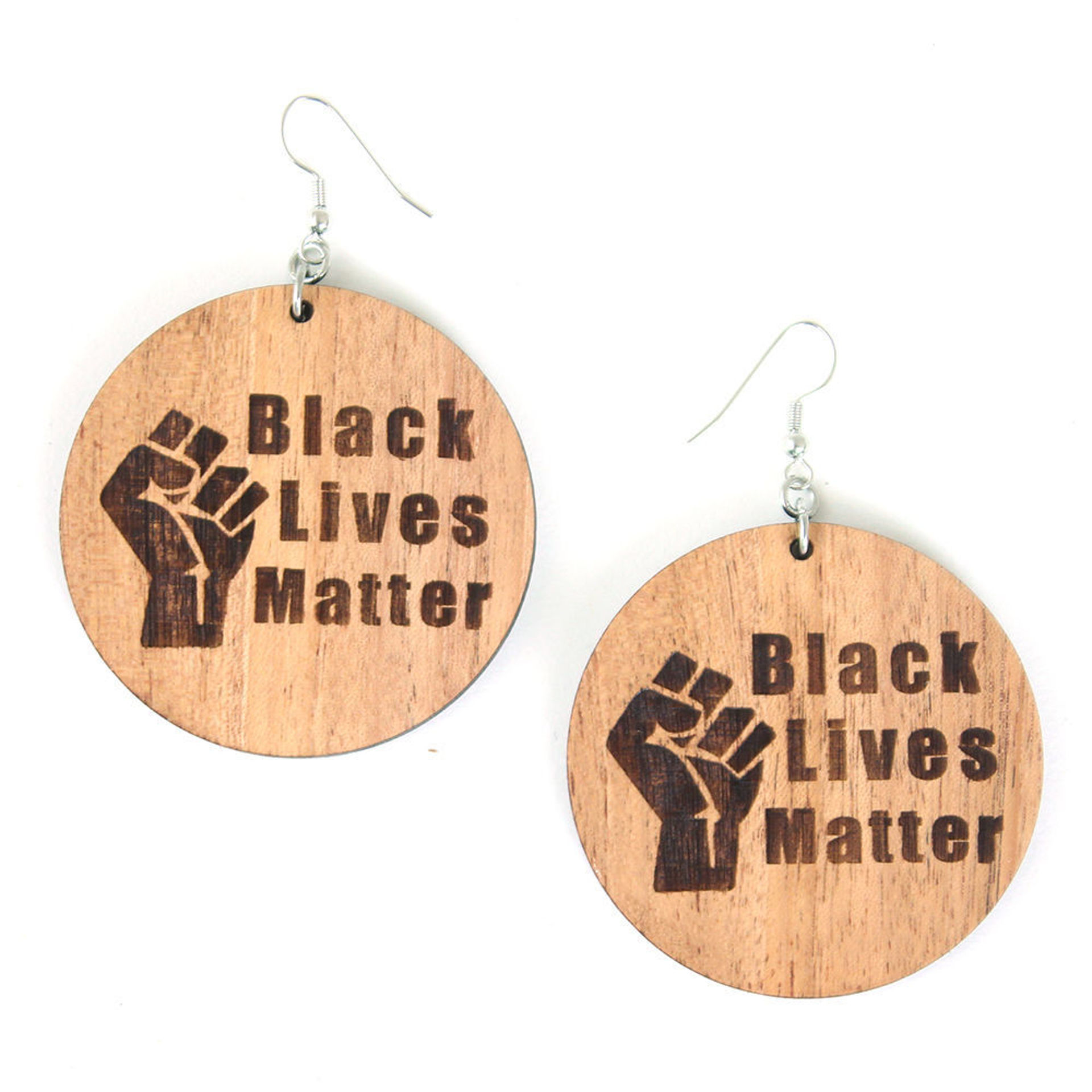 Picture of Wood Black Lives Matter Earrings Style-B