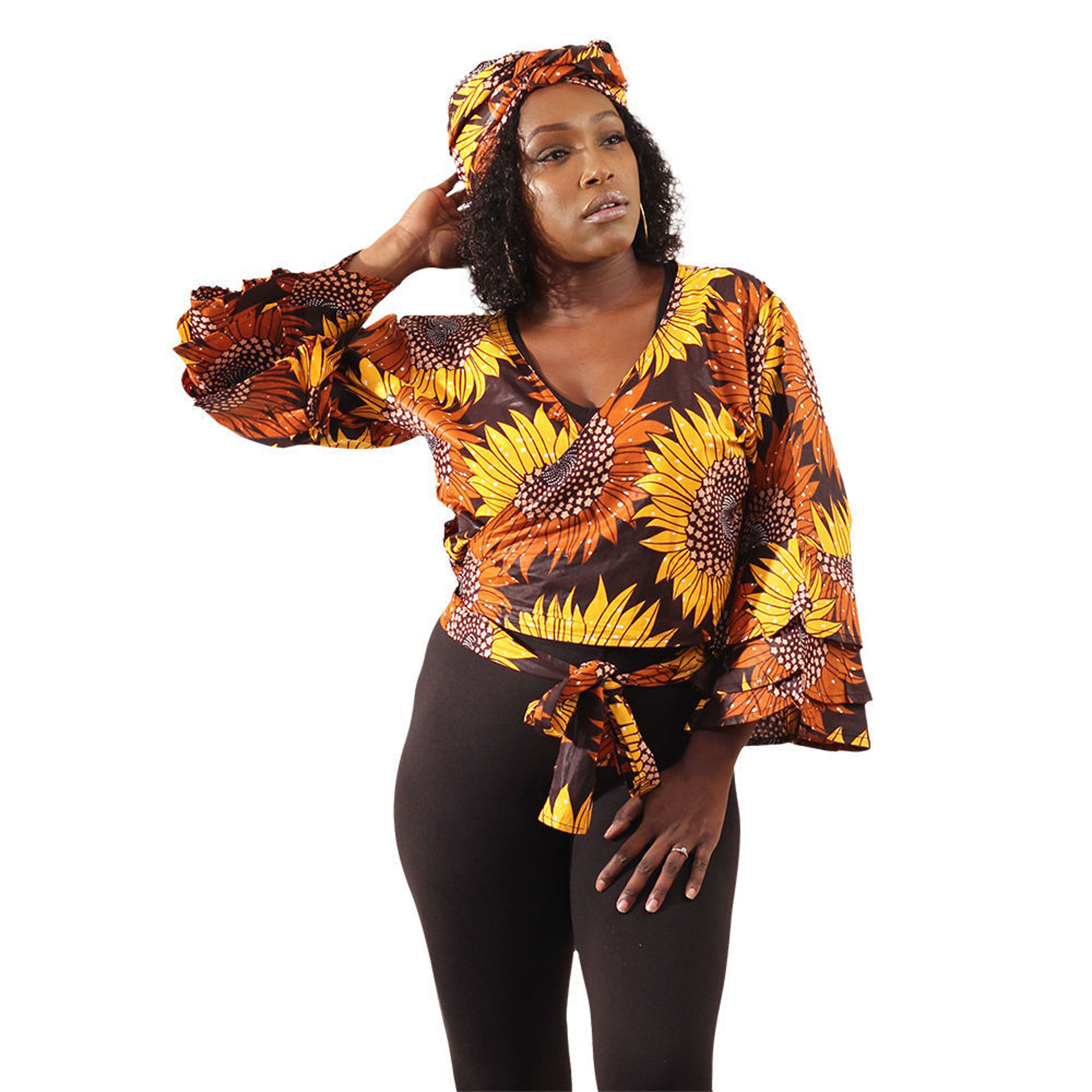 Picture of Brown Floral Print Wrap Top