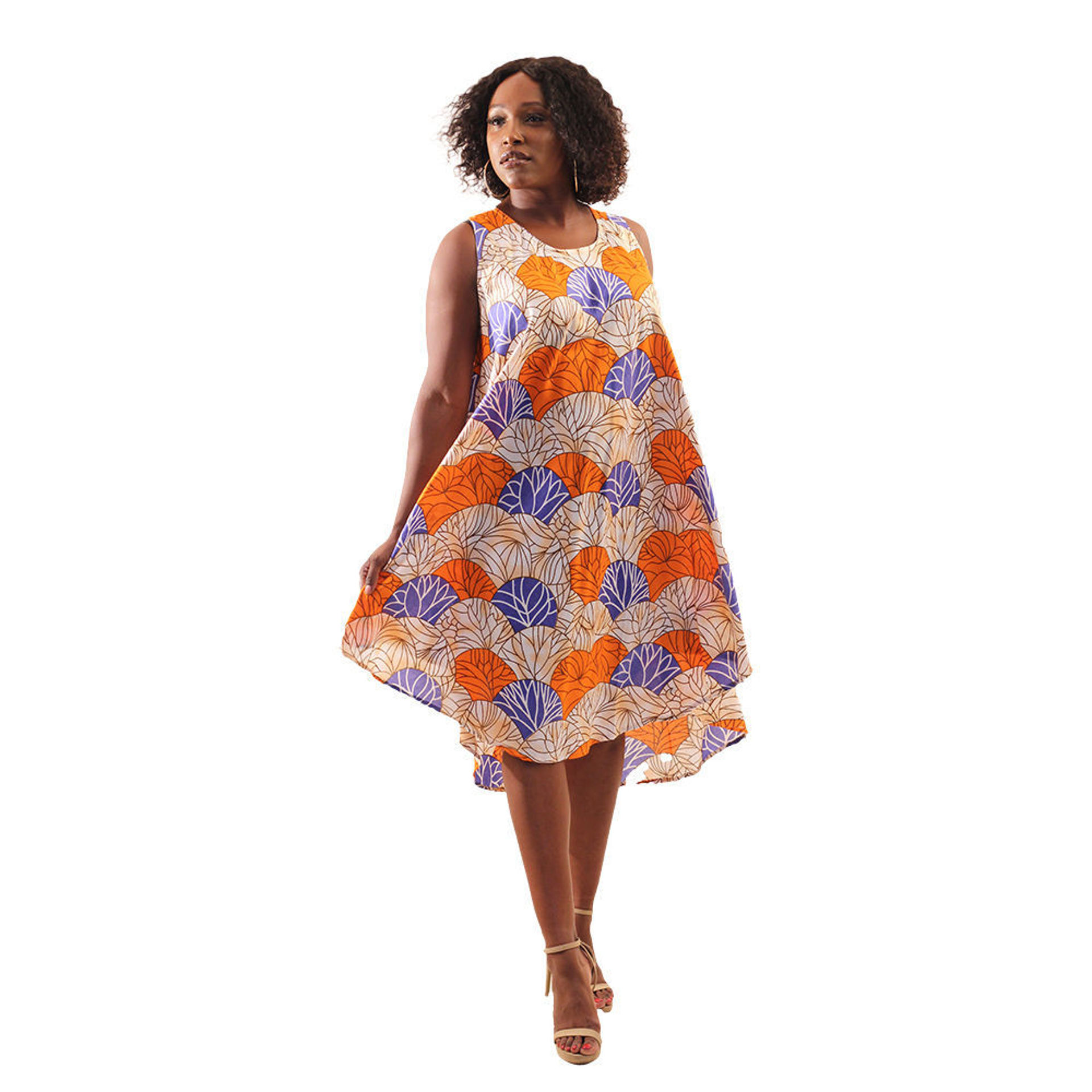Picture of African Print Umbrella Dress: Orange