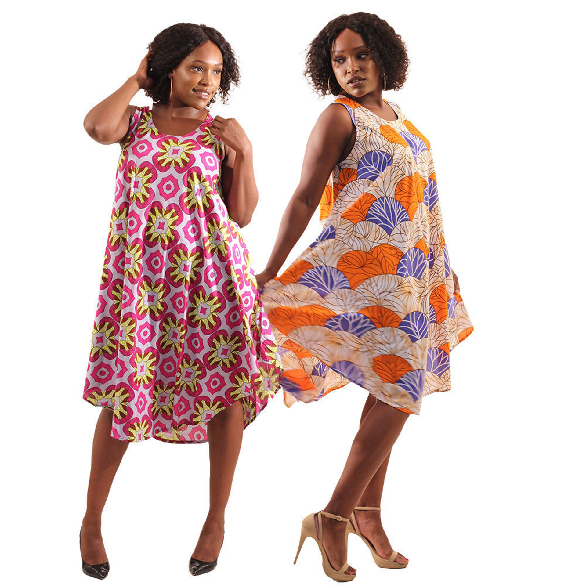Picture of Set Of 2 African Print Umbrella Dresses