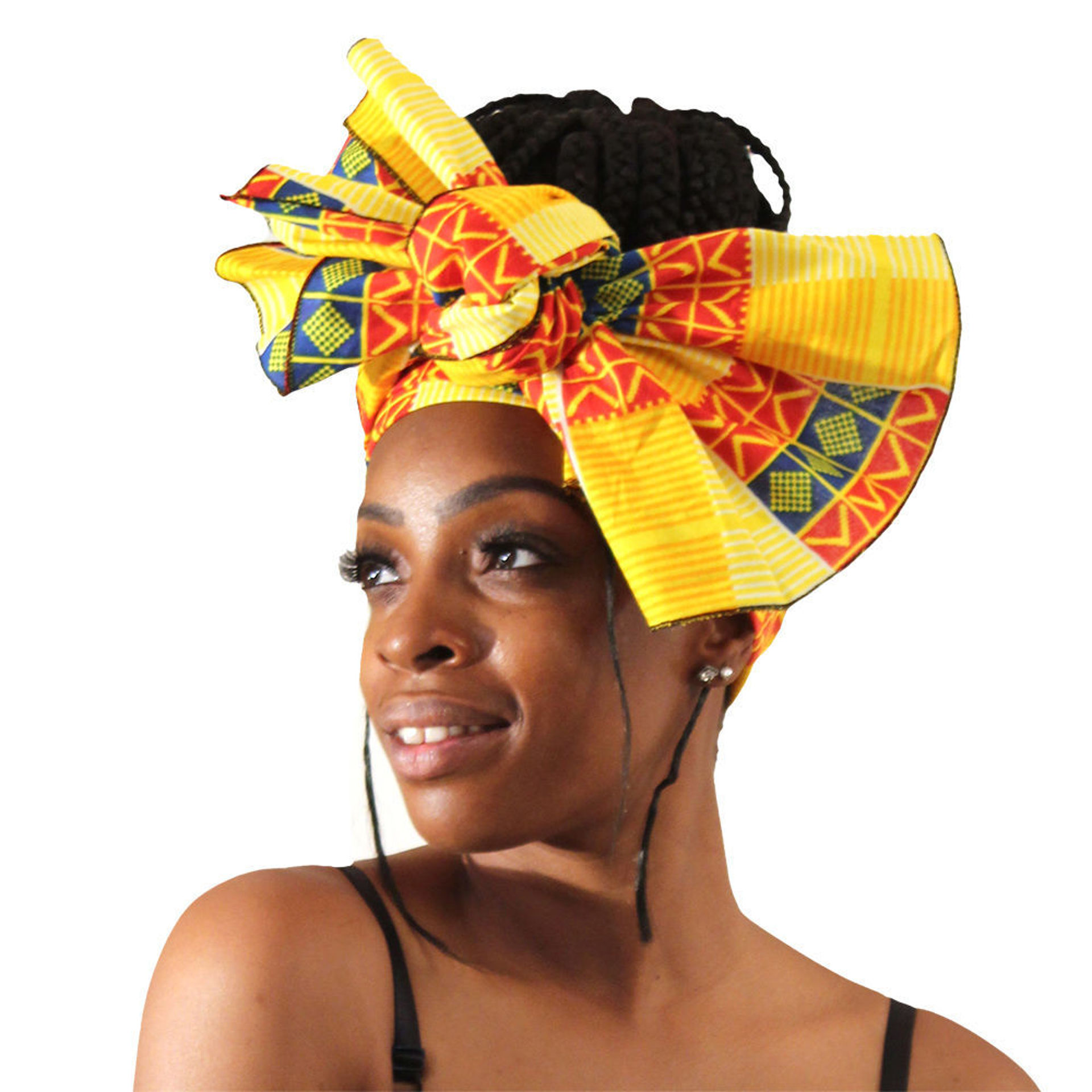 Picture of Yellow Kente Head Wrap: Design-B