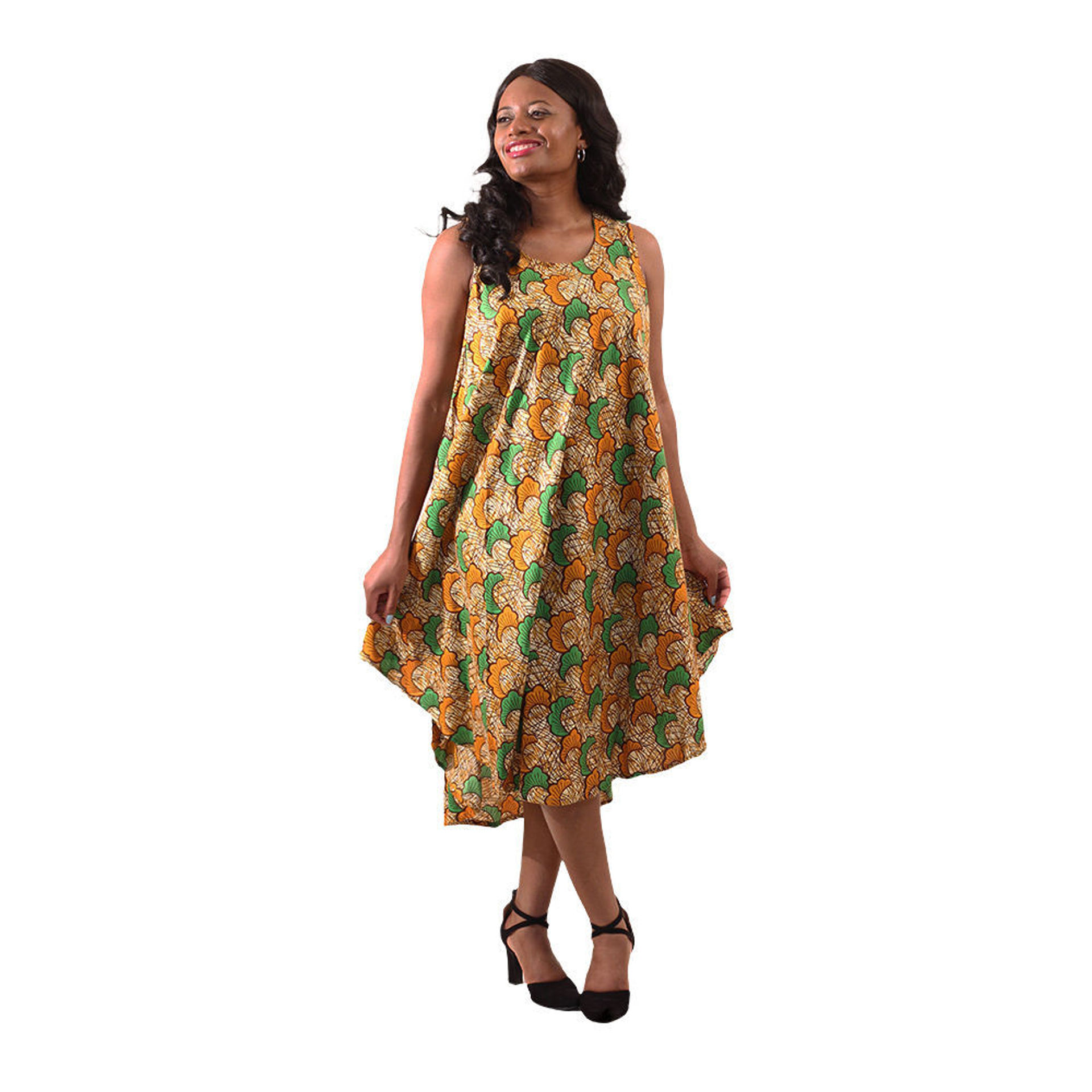 Picture of African Print Umbrella Dress: Brown