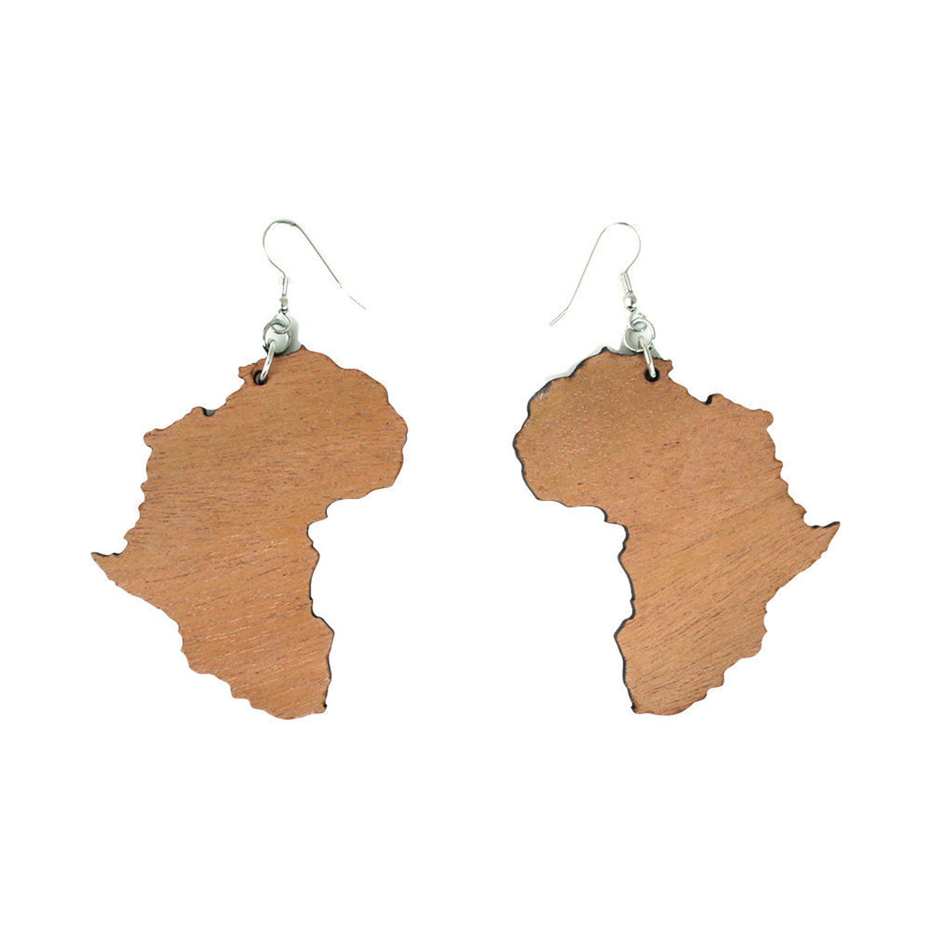 Picture of Set Of 12 Wooden Africa Map Earrings