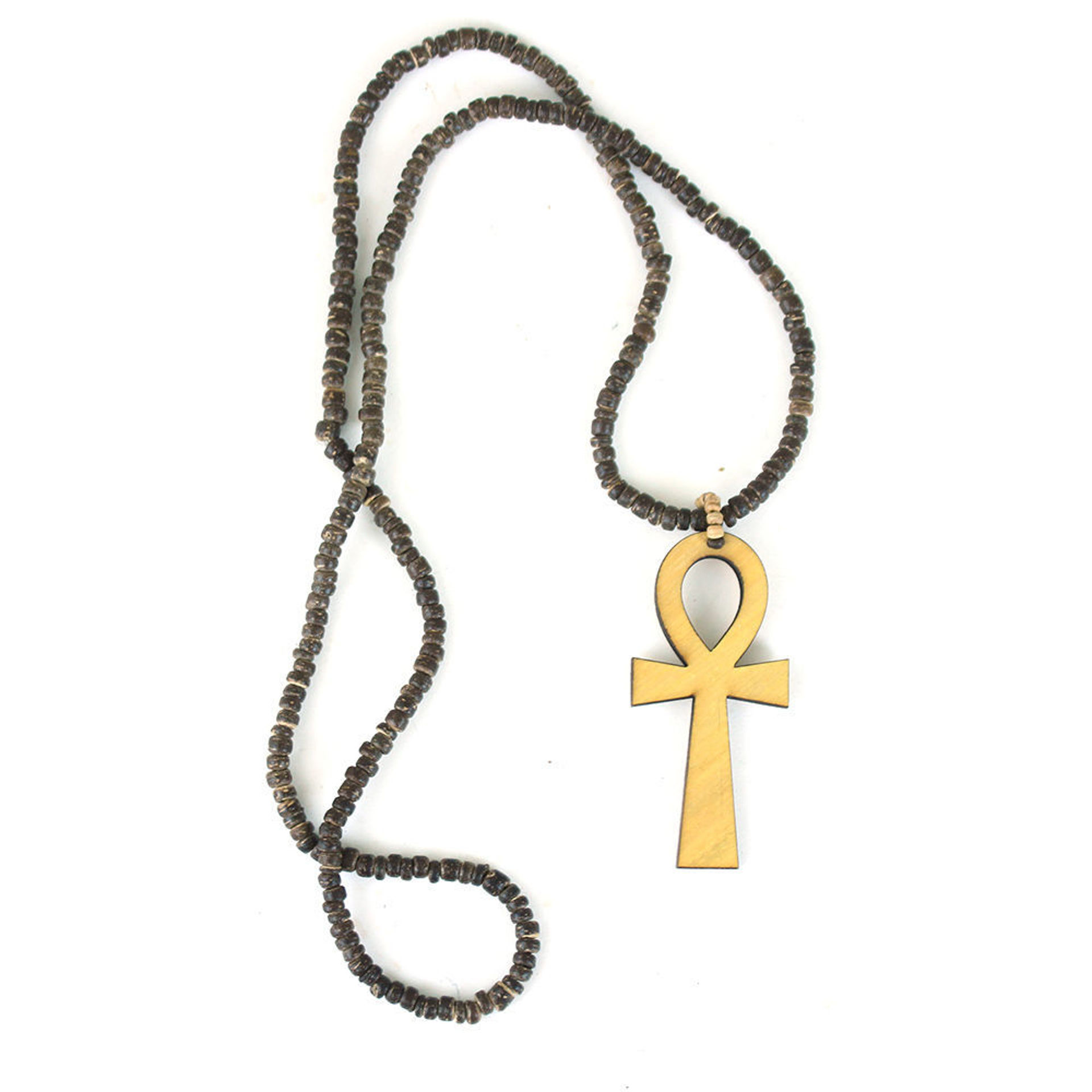 Picture of Set Of 12 Coconut Bead Ankh Necklaces