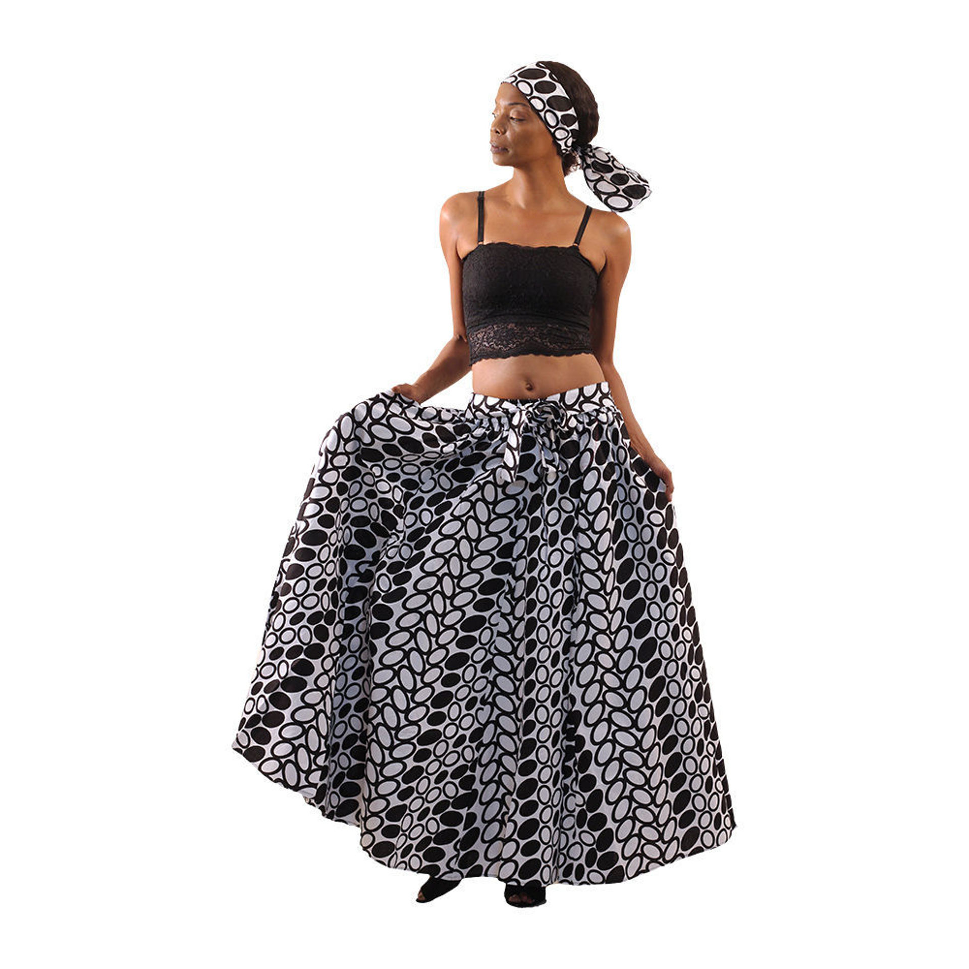 Picture of White/Black Circle Print Maxi Skirt
