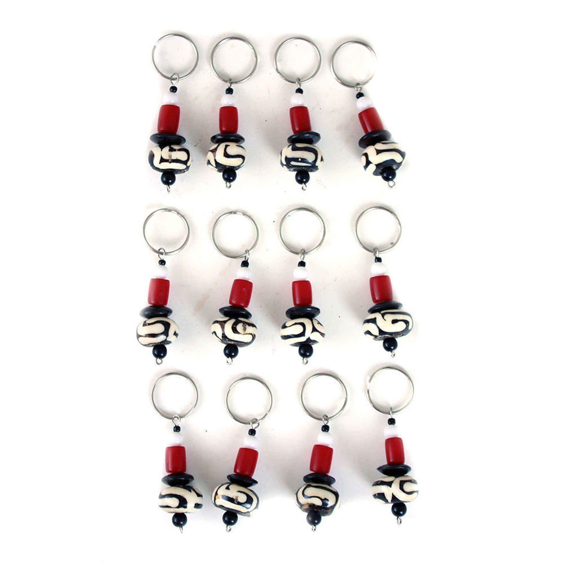 Picture of Set Of 12 Beaded Amber & Bone Key Chains