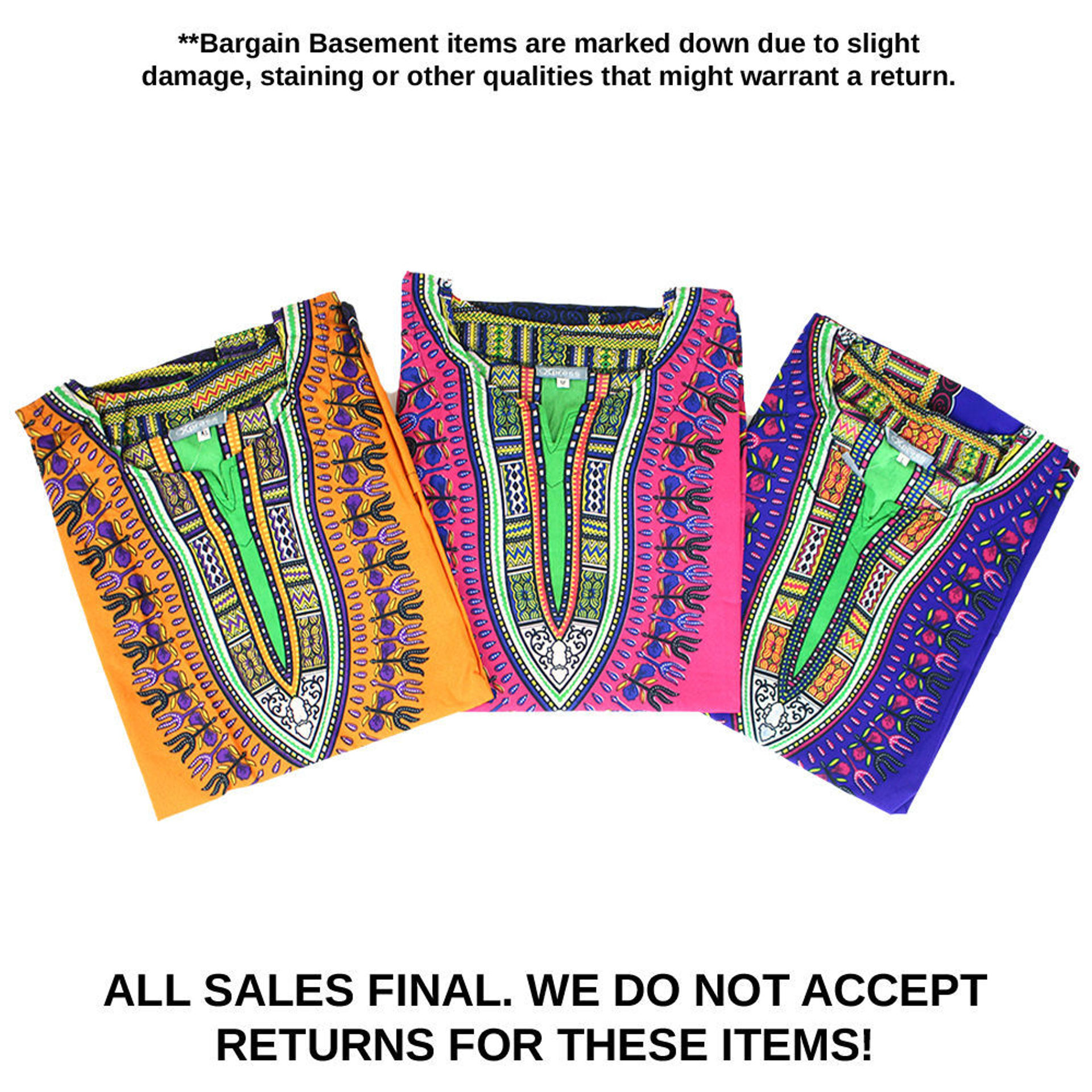 Picture of DAMAGED Set Of 6 SIZED Dashikis