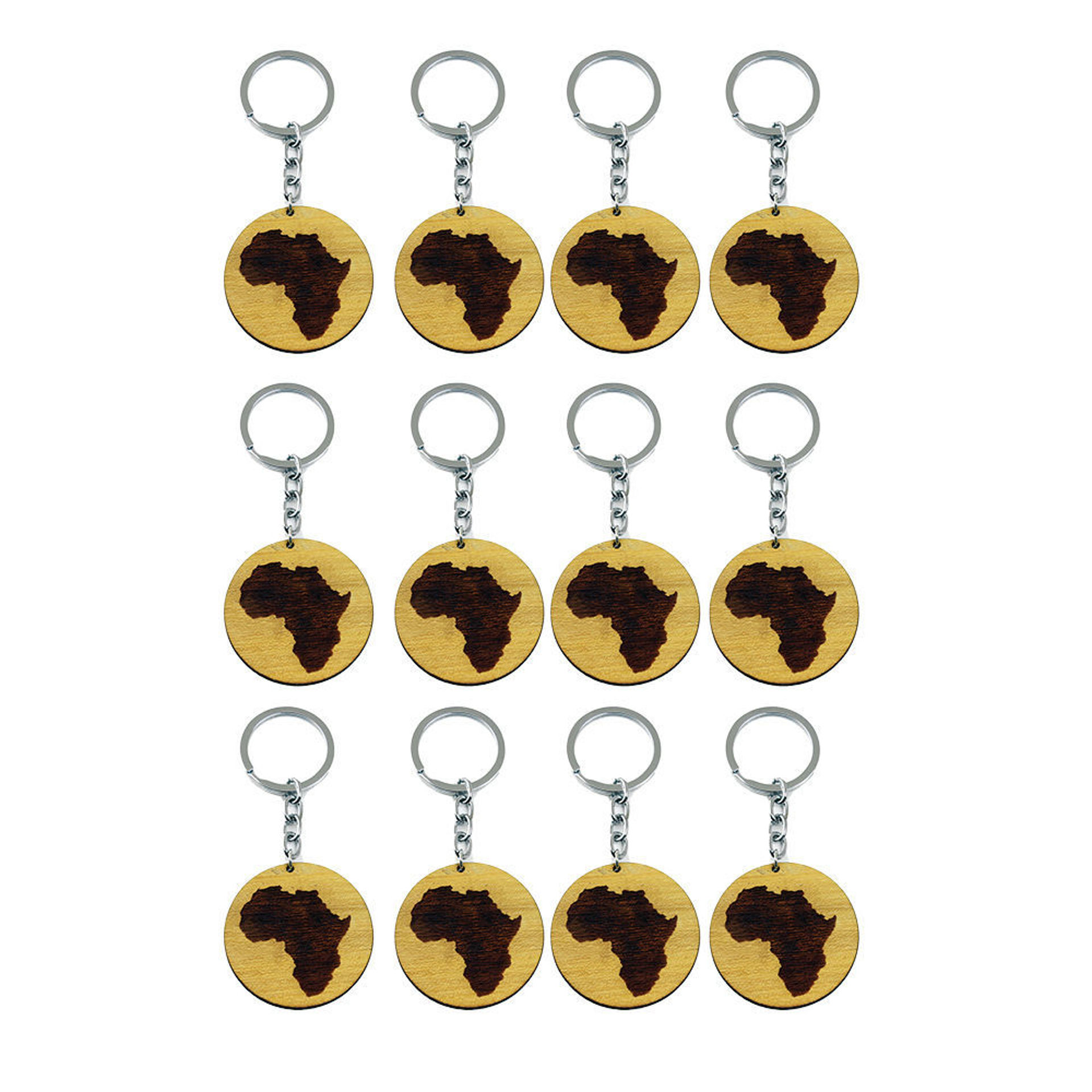 Picture of Set Of 12 Wooden Africa Key Chains