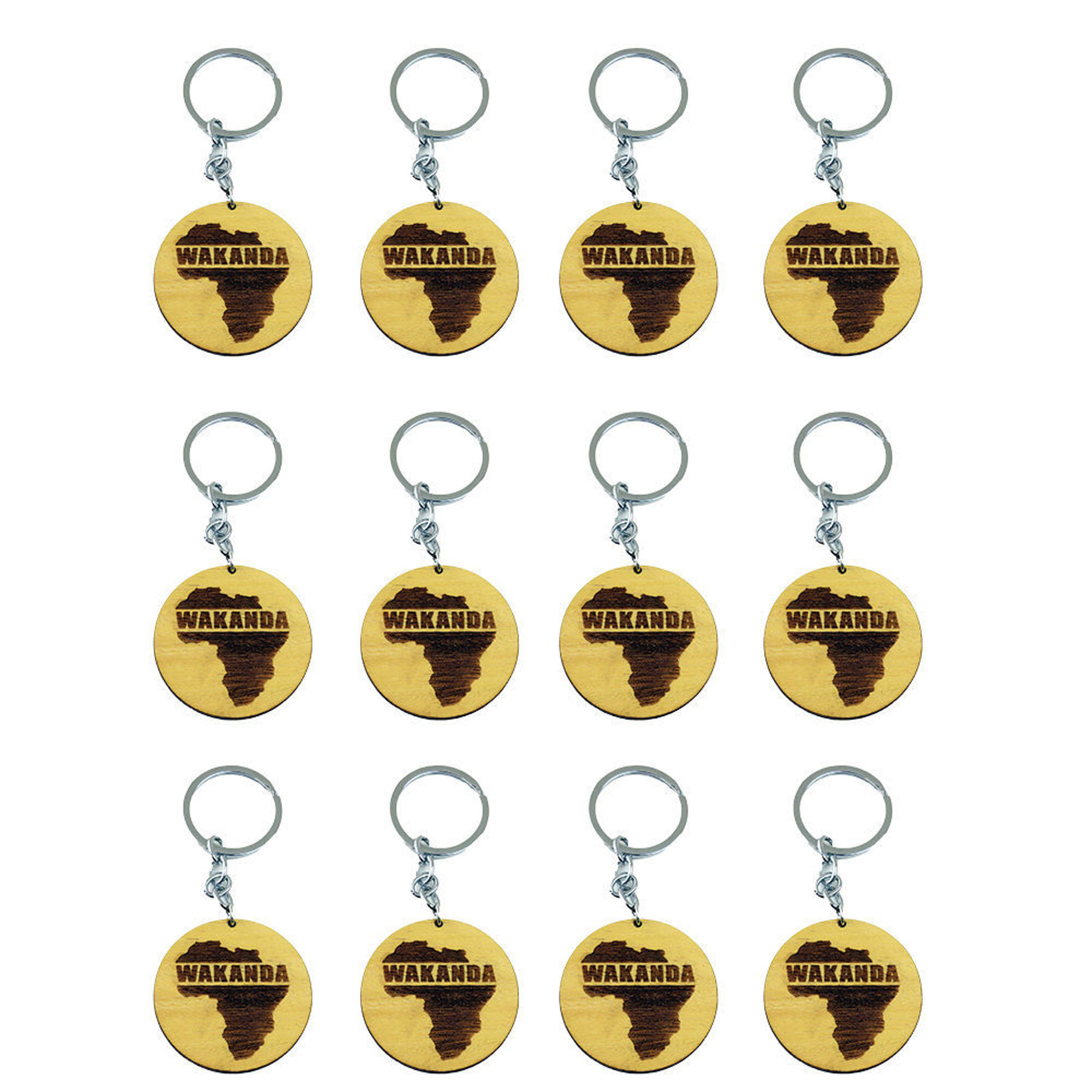 Picture of Set Of 12 Wooden Wakanda Key Chains