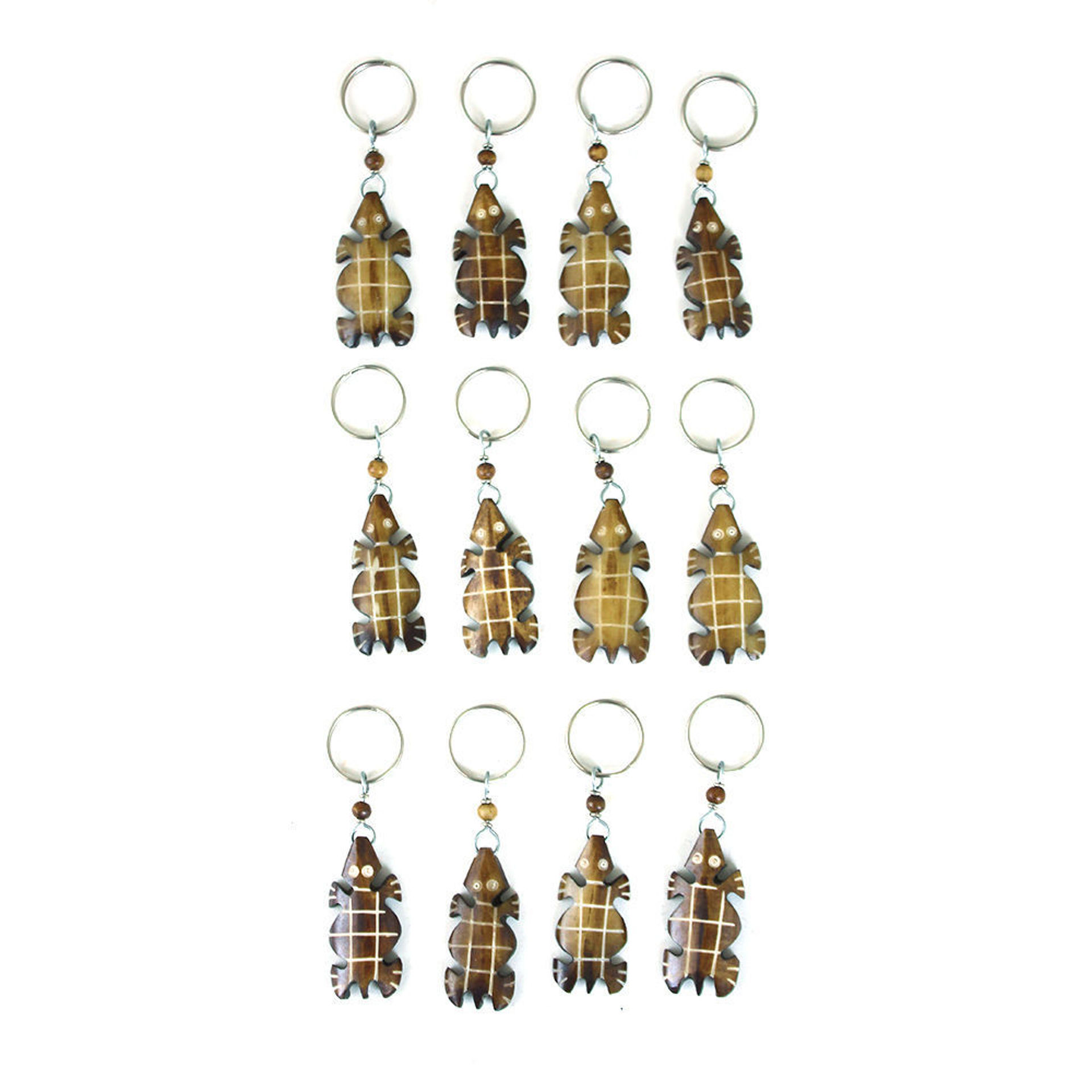 Picture of Set Of 12 African Bone Turtle Key Chains