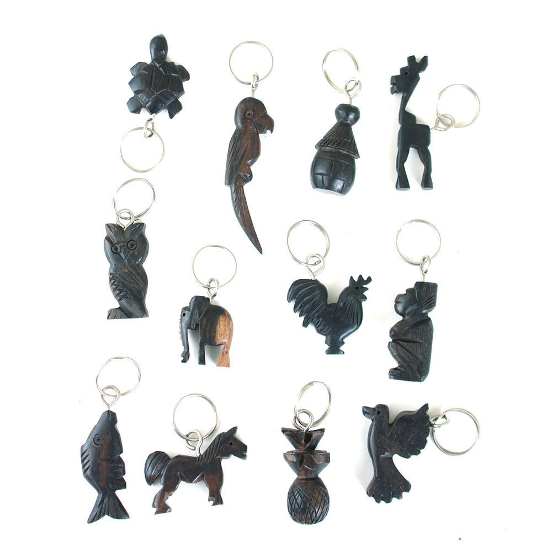 Picture of Set Of 12 Wood Animal & Mask Key Chains