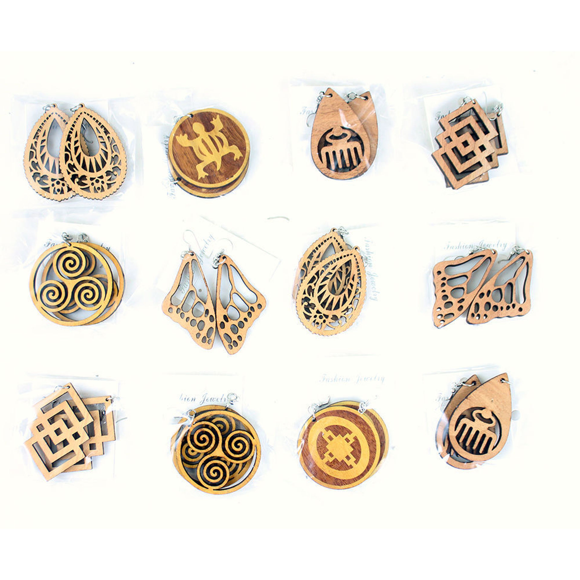 Picture of Set Of 12 Wooden Adinkra Earrings - ASTD