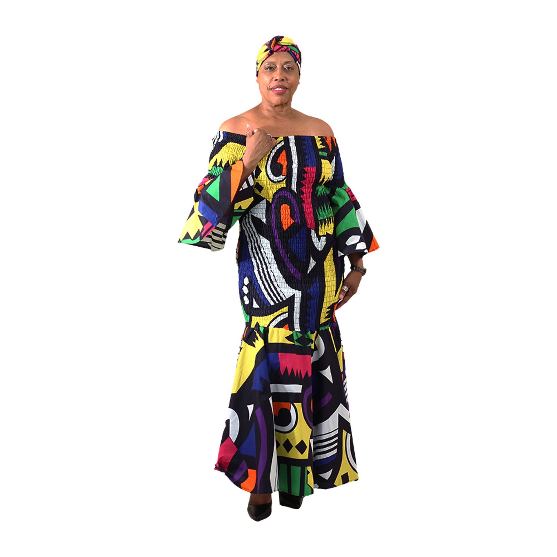 Picture of Abstract Print Smocked Dress