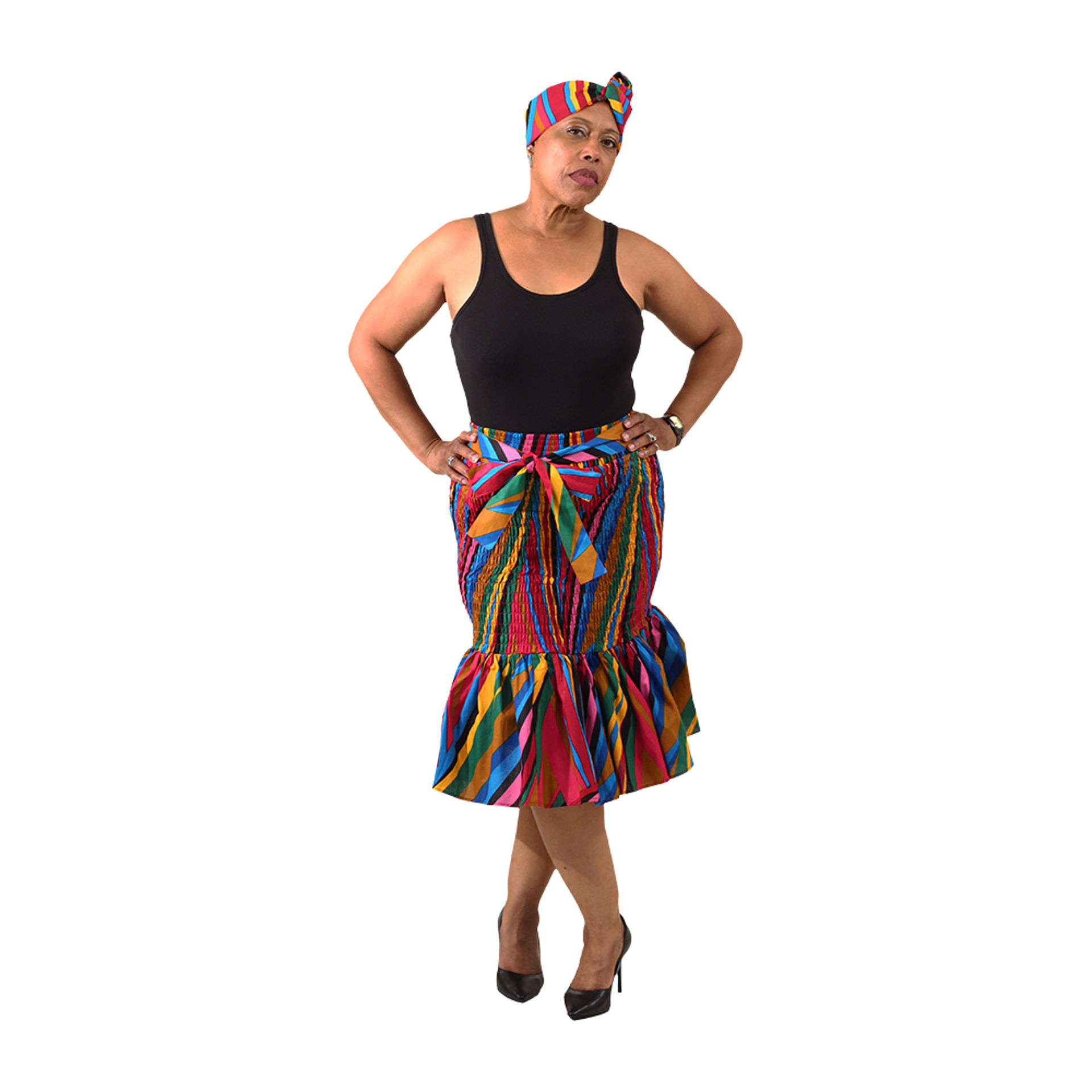 Picture of Colorful Striped Smocked Skirt