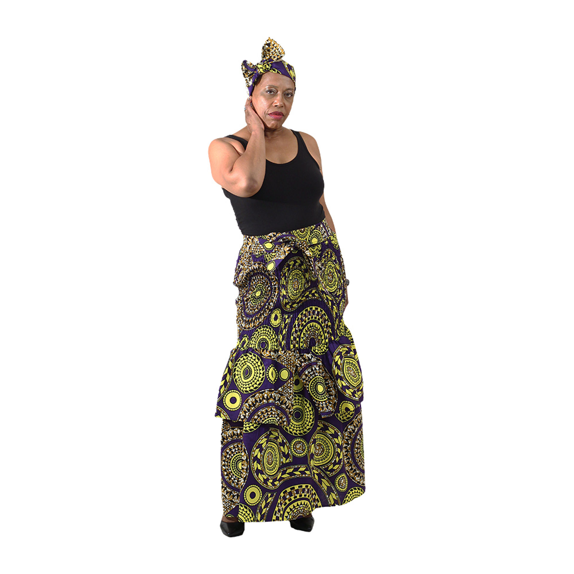 Picture of Tribal Print Layered Long Skirt