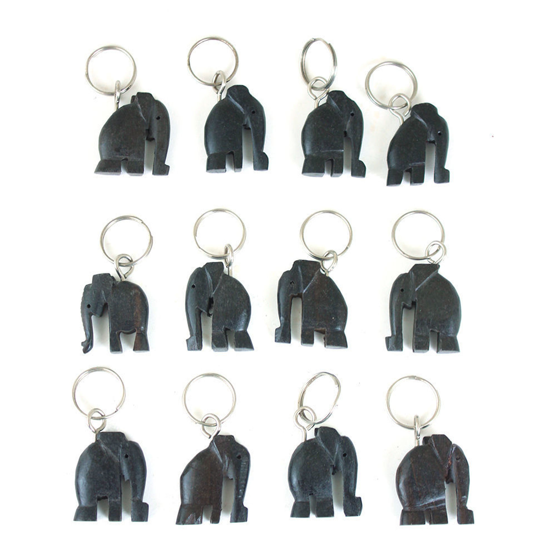 Picture of Set Of 12 Wooden Elephant Key Chains