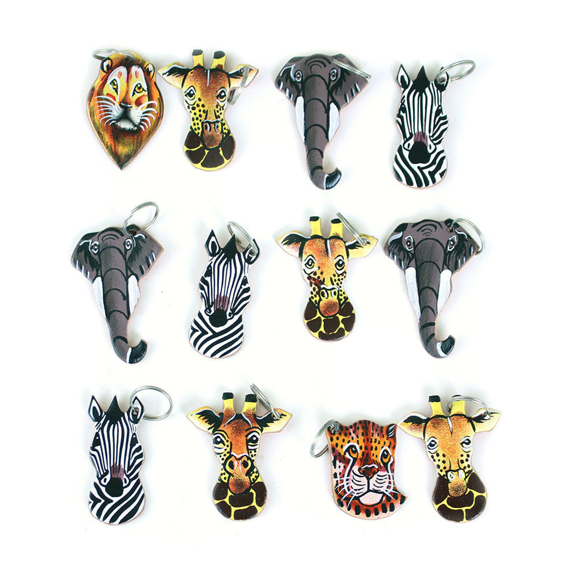 Picture of Set Of 12 Leather Animal Key Chains